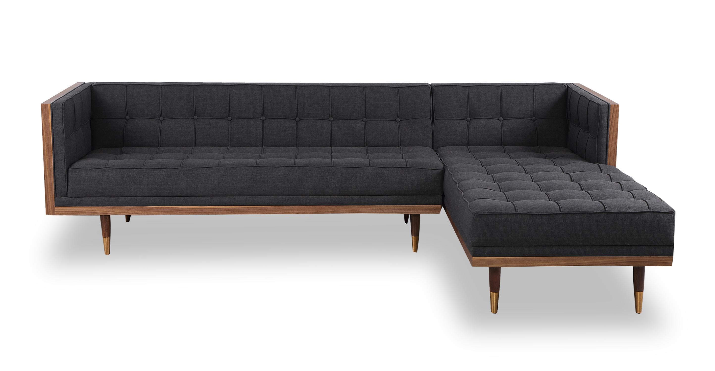 "Woodrow Box 100"" Fabric Sofa Sectional Right, Walnut/Urban Ink"
