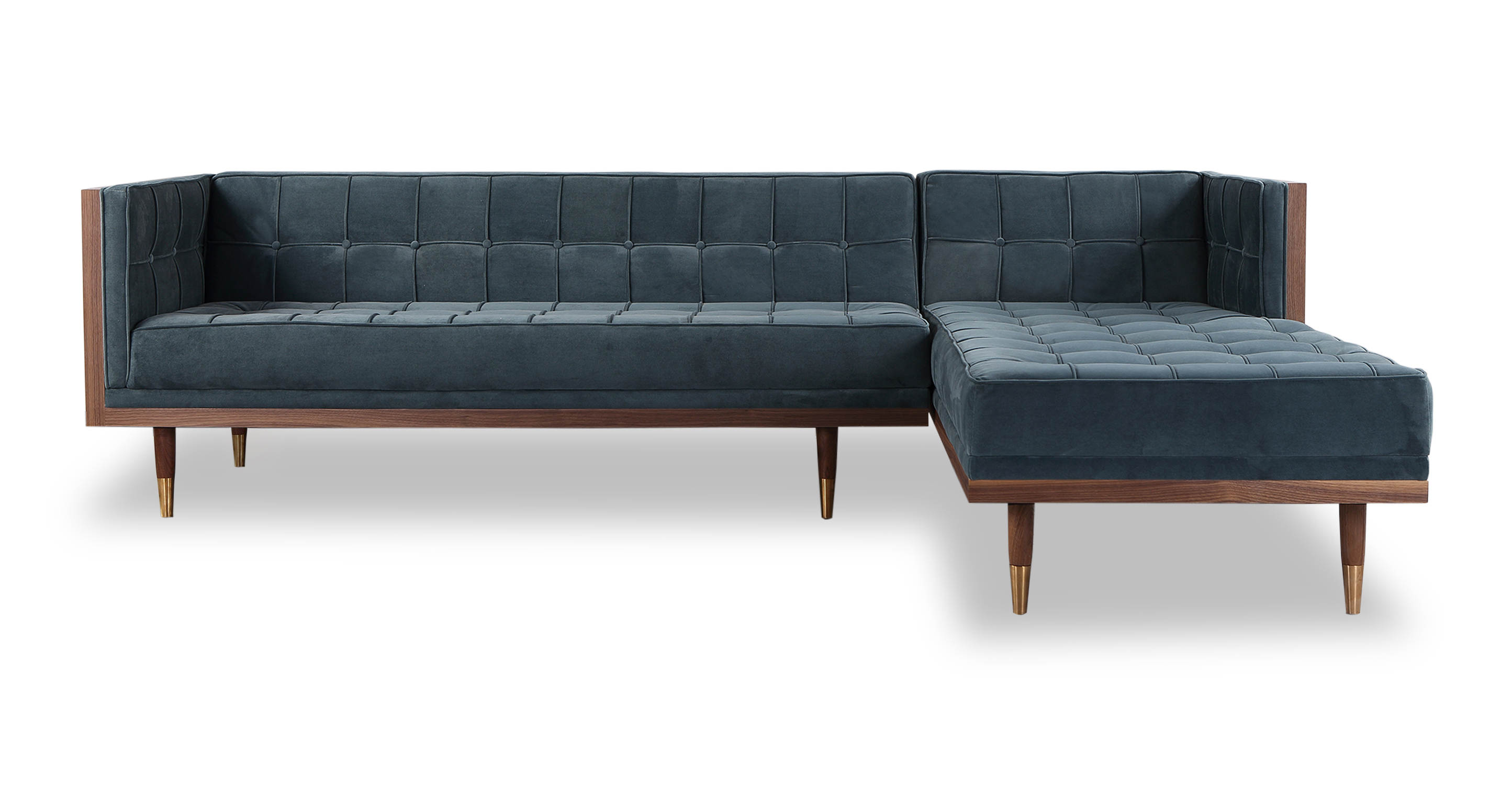"Woodrow Box 100"" Fabric Sofa Sectional Right, Walnut/Neptune Velvet"
