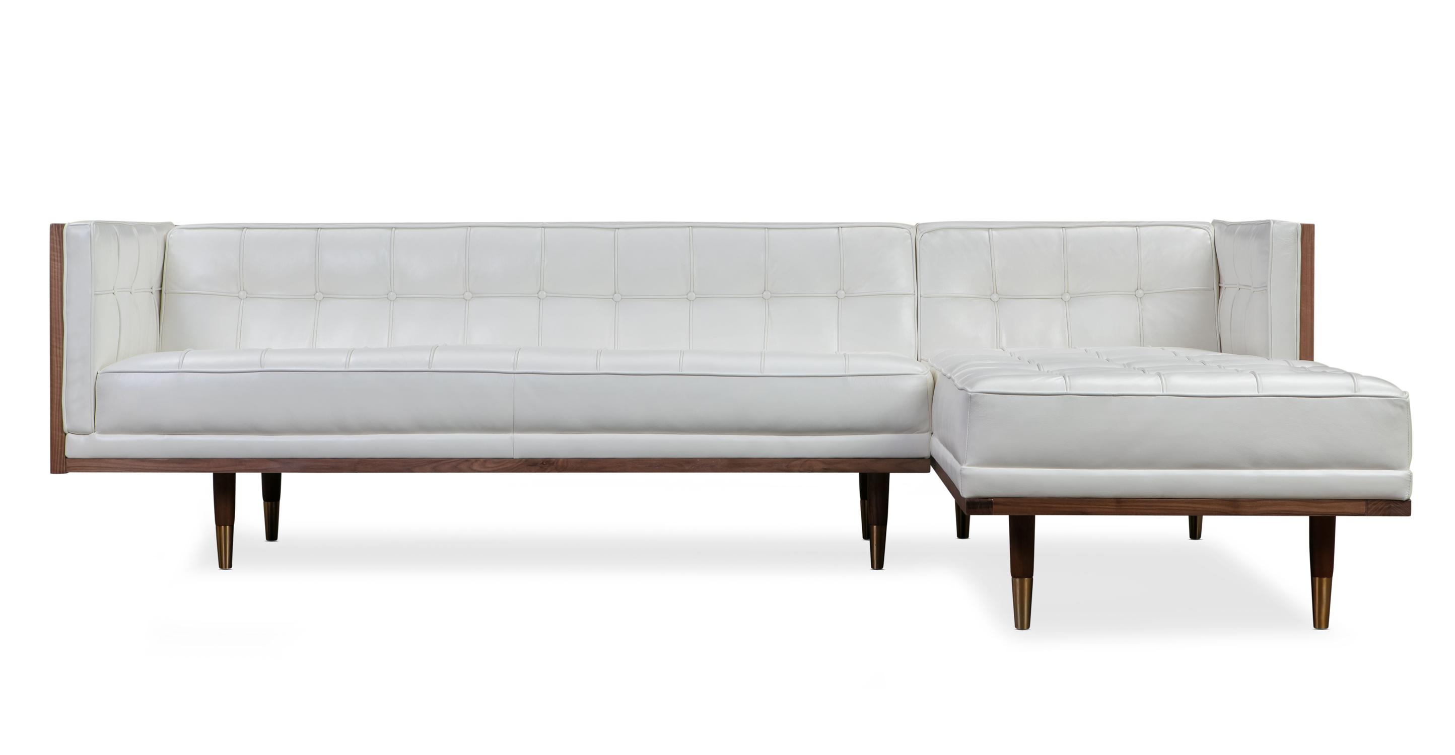 "Woodrow Box 100"" Leather Sofa Sectional Right, Walnut/White Aniline"