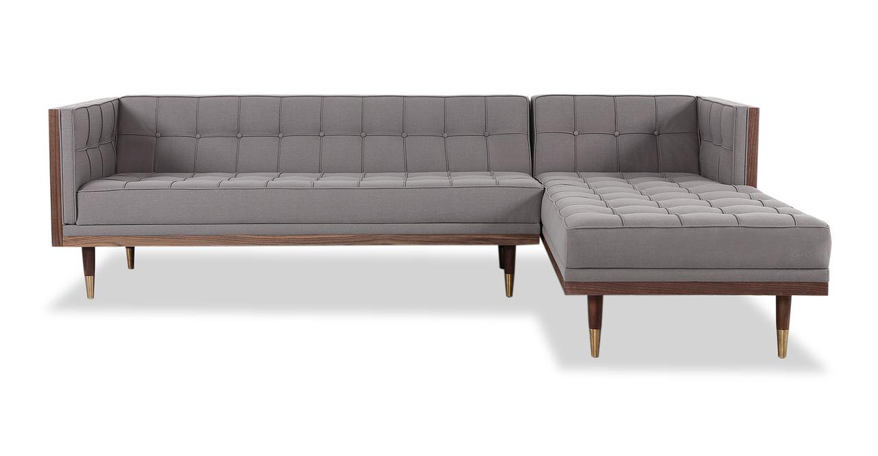 Woodrow Box Sofa Sectional Right, Walnut/Haze Pewter