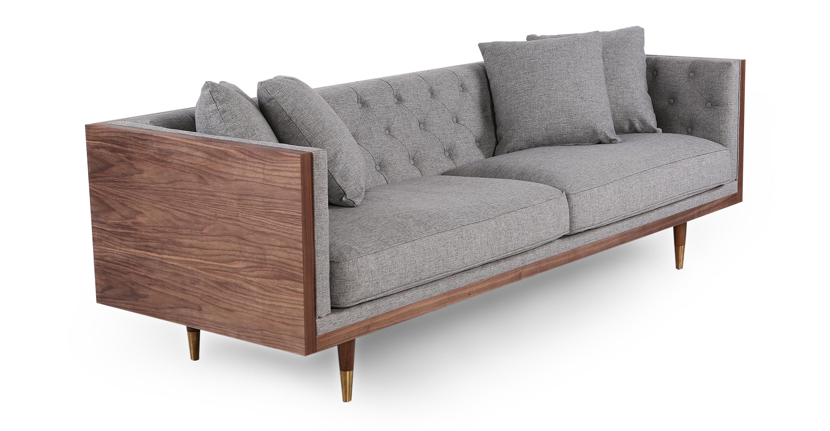 "Woodrow Neo 87"" Fabric Sofa, Walnut/Eames Grey"