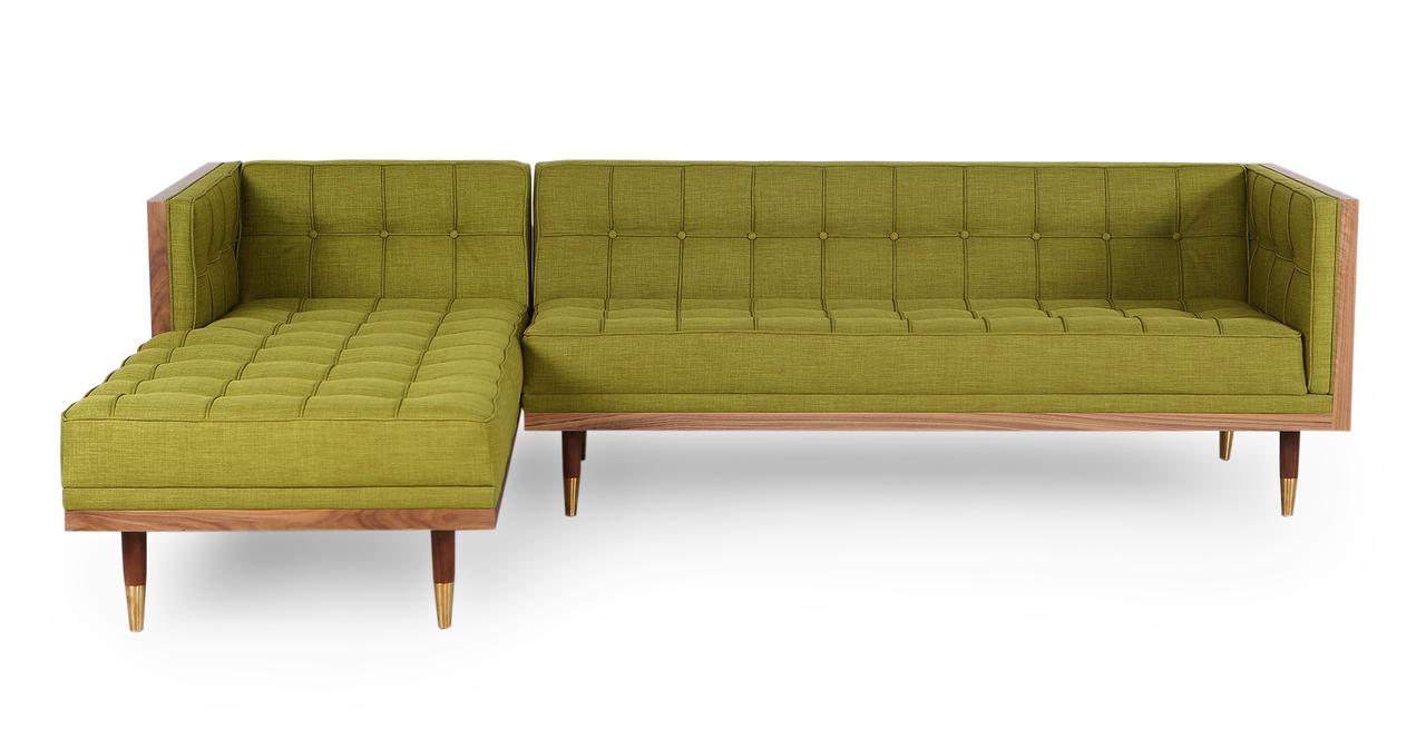 Woodrow Box Sofa Sectional Left, Walnut/Atomic Moss