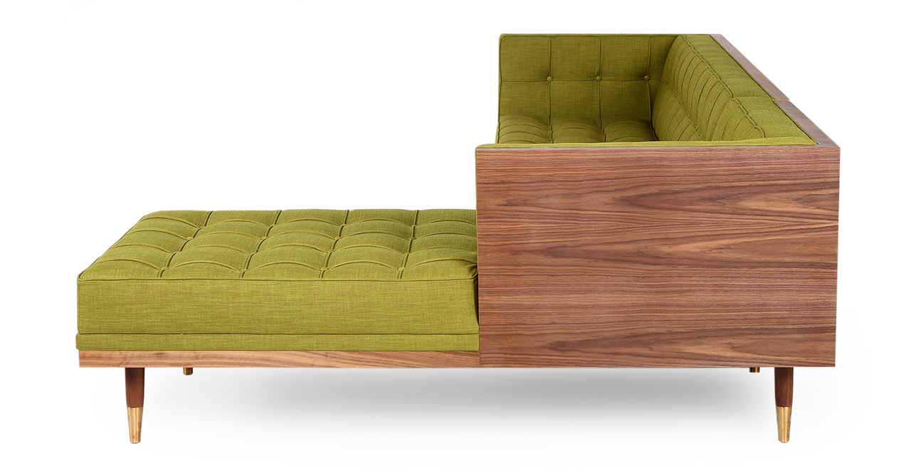 Woodrow Box Sofa Sectional Right, Walnut/Atomic Moss