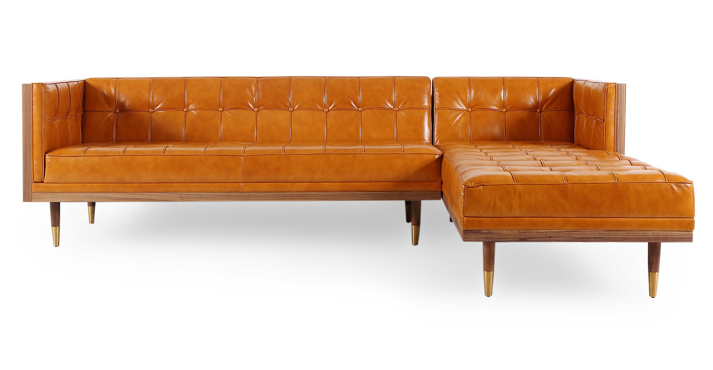 "Woodrow Box 100"" Leather Sofa Sectional Right, Walnut/Tan Aniline"