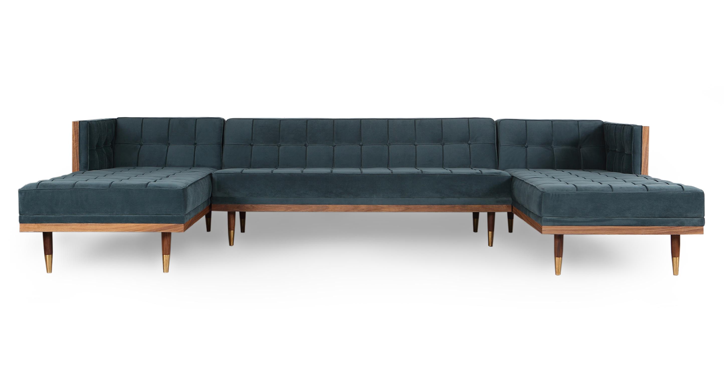 "Woodrow Box 126"" Sofa U-Sectional, Walnut/Neptune Velvet"