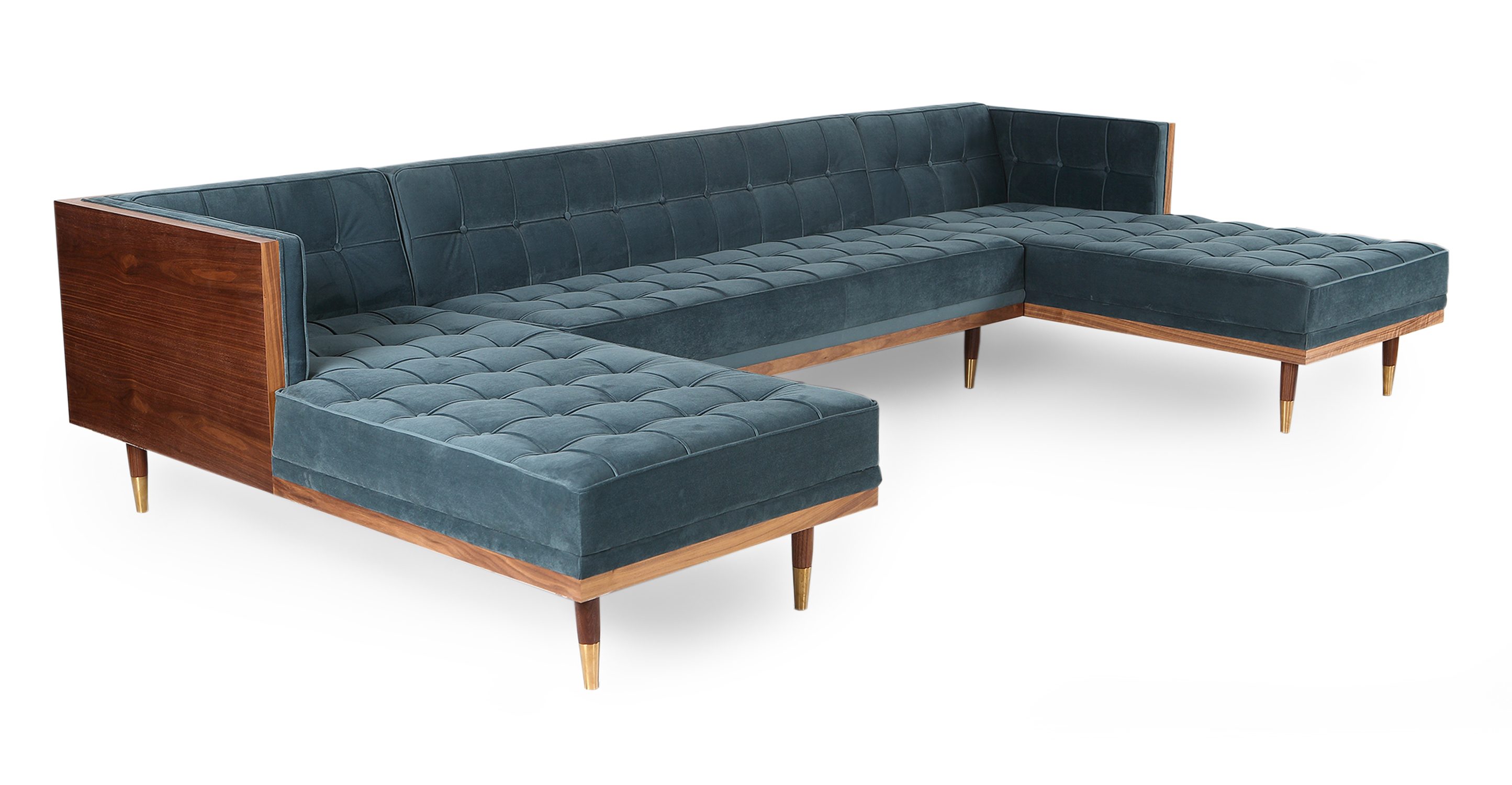 "Woodrow Box 126"" Fabric Sofa U-Sectional, Walnut/Neptune Velvet"