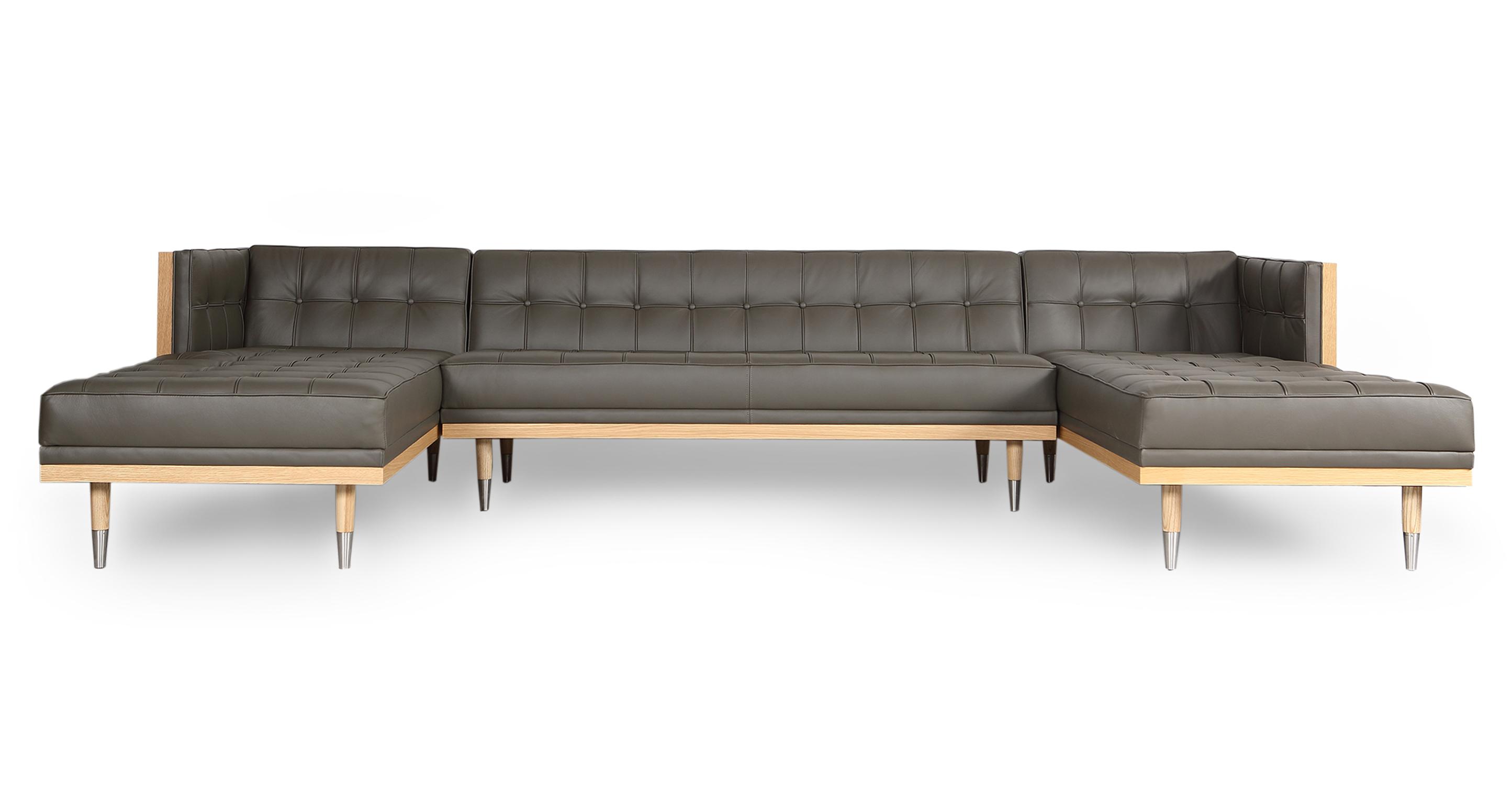 "Woodrow Box 126"" Sofa U-Sectional, Ash/Grey Aniline"