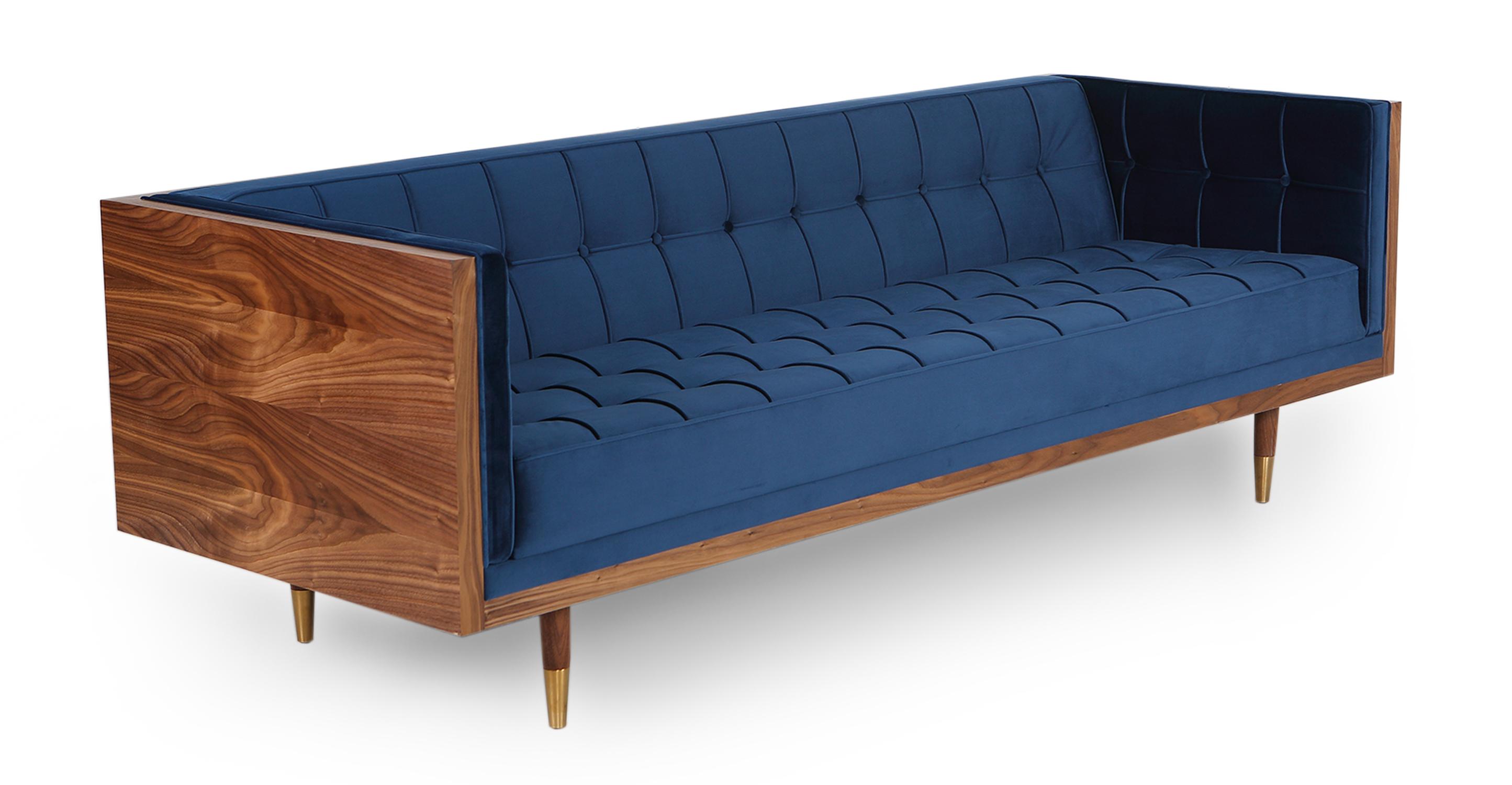 "Woodrow Box 87"" Fabric Sofa, Walnut/Persian Velvet"