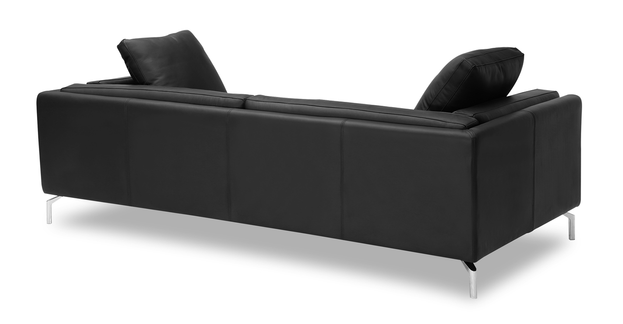 "Basil Loft 91"" Leather Sofa, Black Aniline"