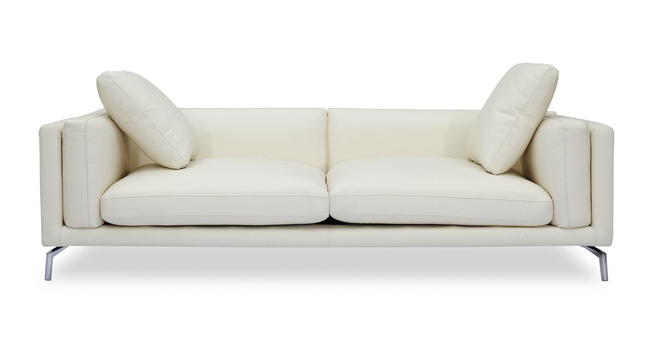 "Basil Loft 91"" Leather Sofa, White Aniline"