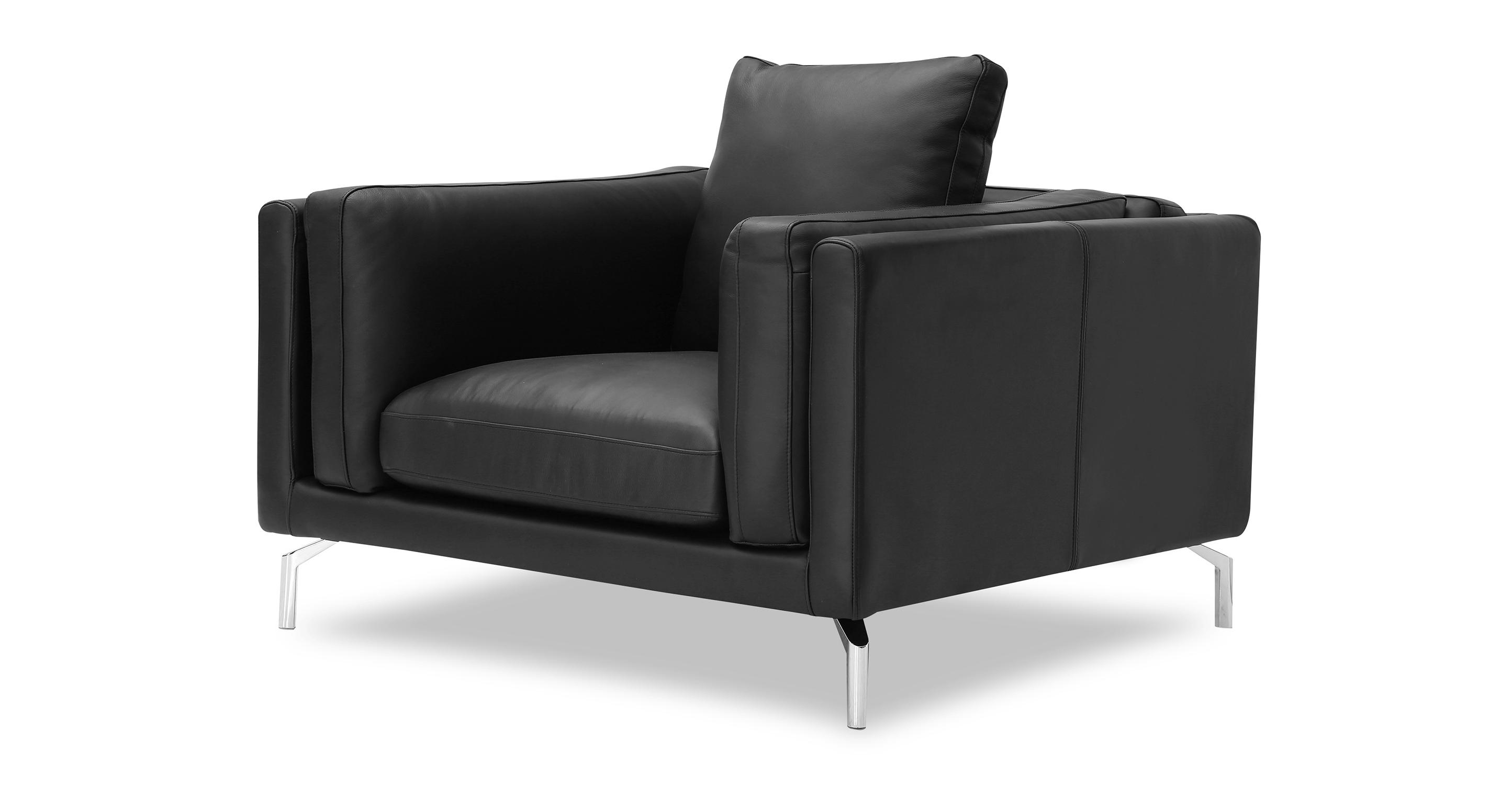 """Basil Loft 43"""" Leather Arm Chair, Black Aniline Leather"""