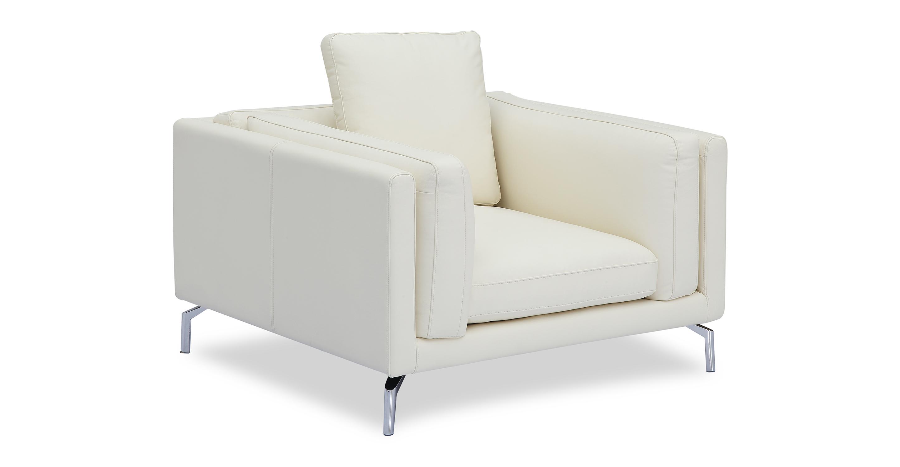 "Basil Loft 43"" Leather Arm Chair, White"
