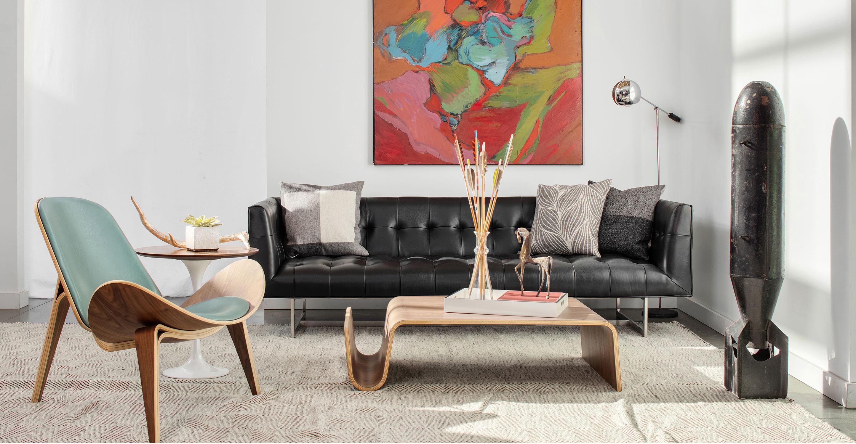 Picture of: Edward 87 Leather Sofa Black Aniline Kardiel