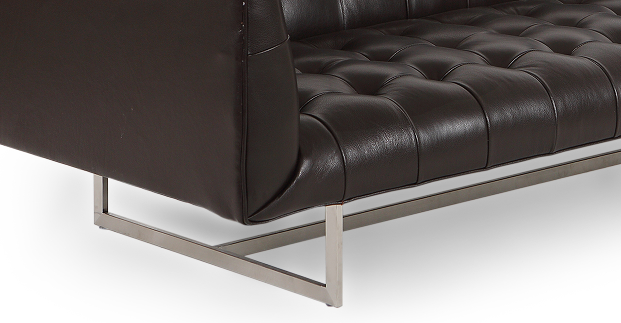 "Edward 87"" Leather Sofa, Brown Aniline"