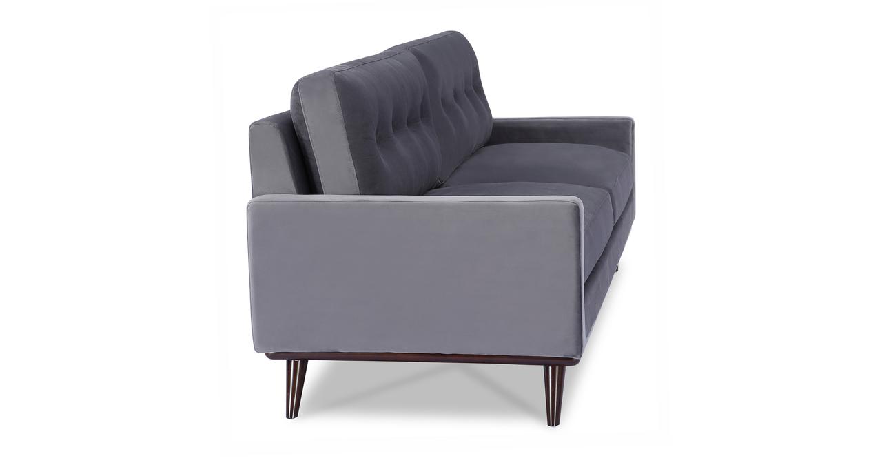 """Lucille 90"""" Fabric Sofa, Fossil Velvet"""