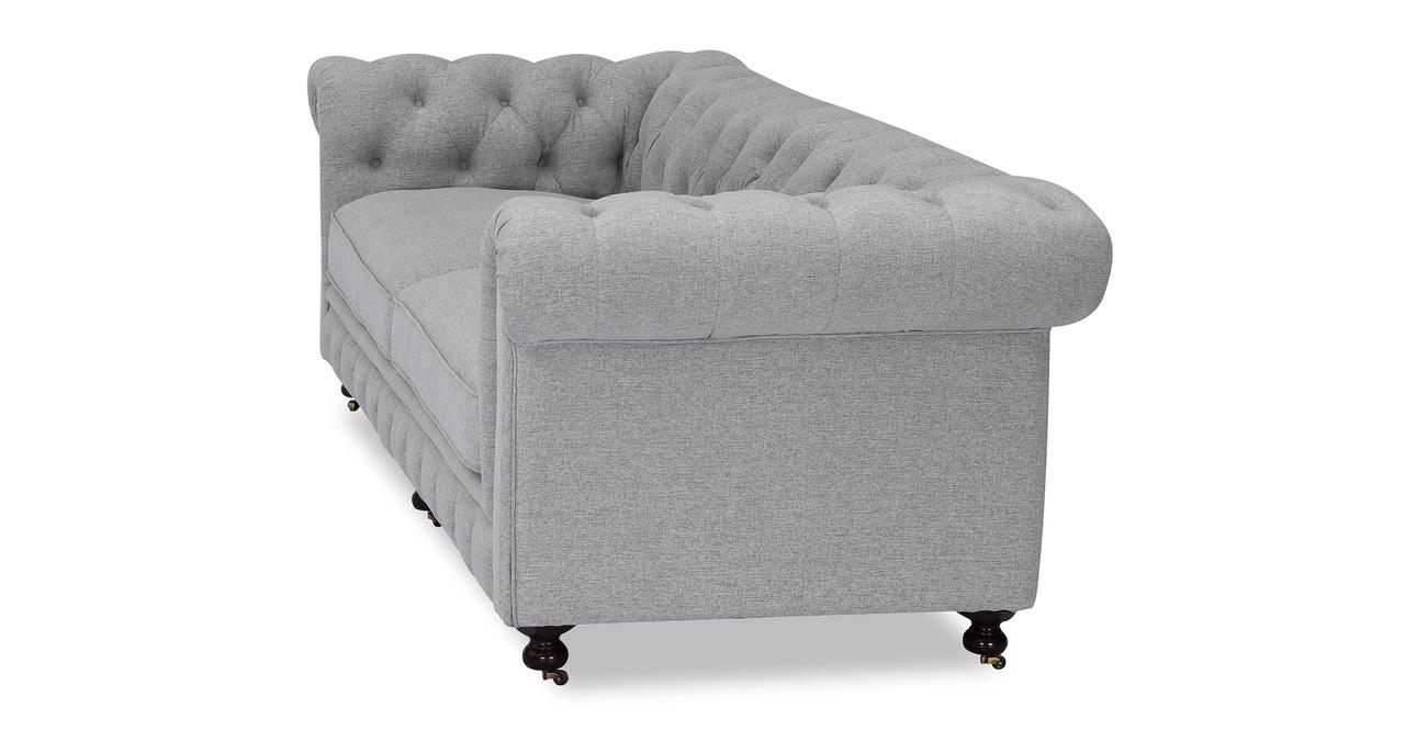 "Chesterfield 98"" Fabric Sofa, Silverfox Twill"