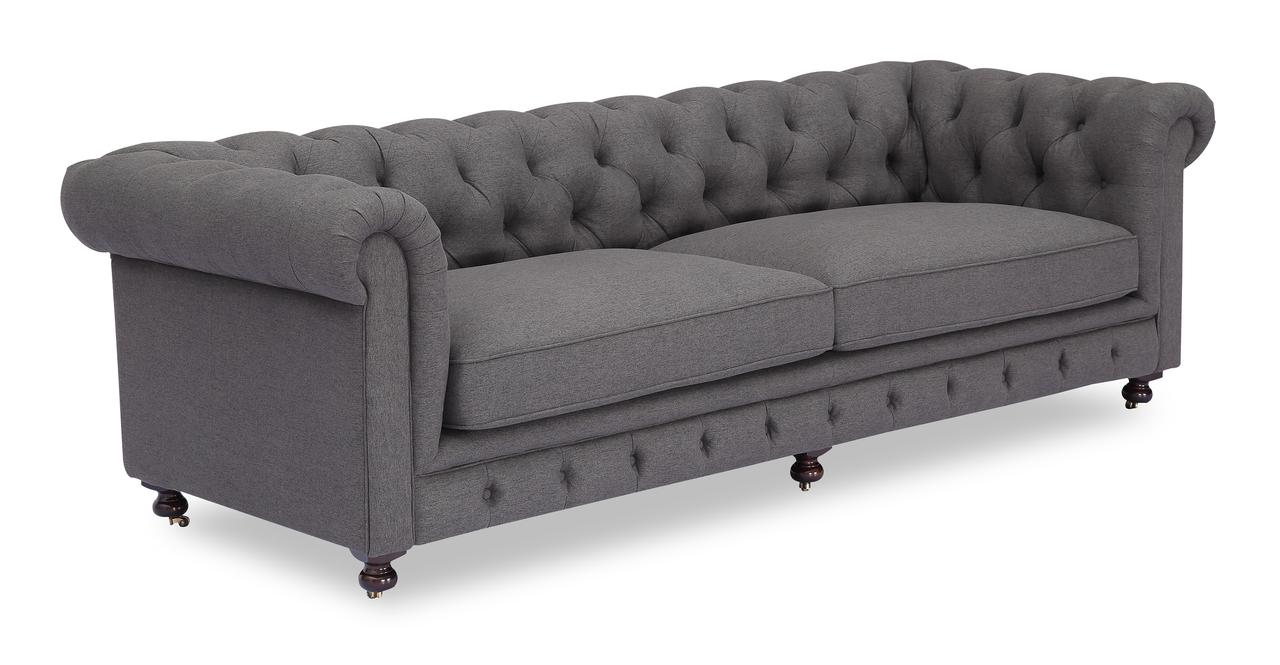 "Chesterfield 98"" Fabric Sofa, Wallstreet Twill"