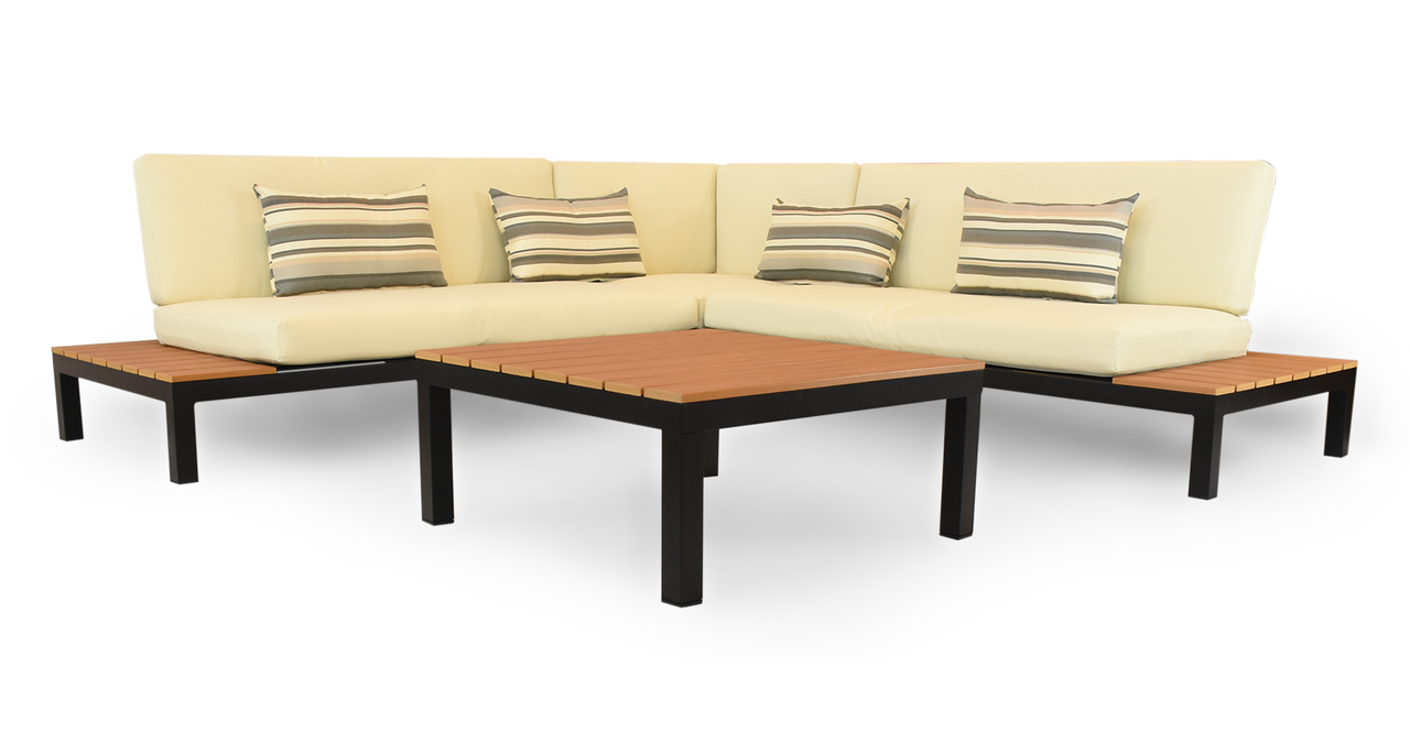 Nelson Outdoor Corner Sectional 4pc Set, Black/Ivory