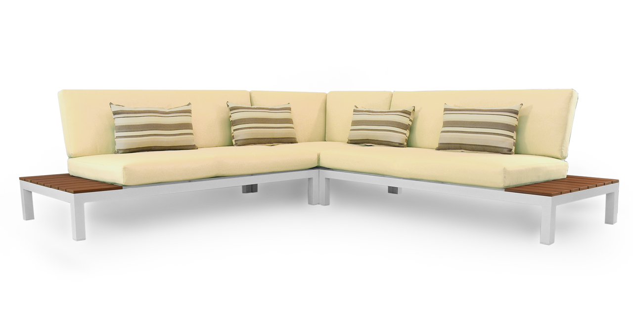 Nelson Outdoor Corner Sectional 4pc Set, White/Ivory