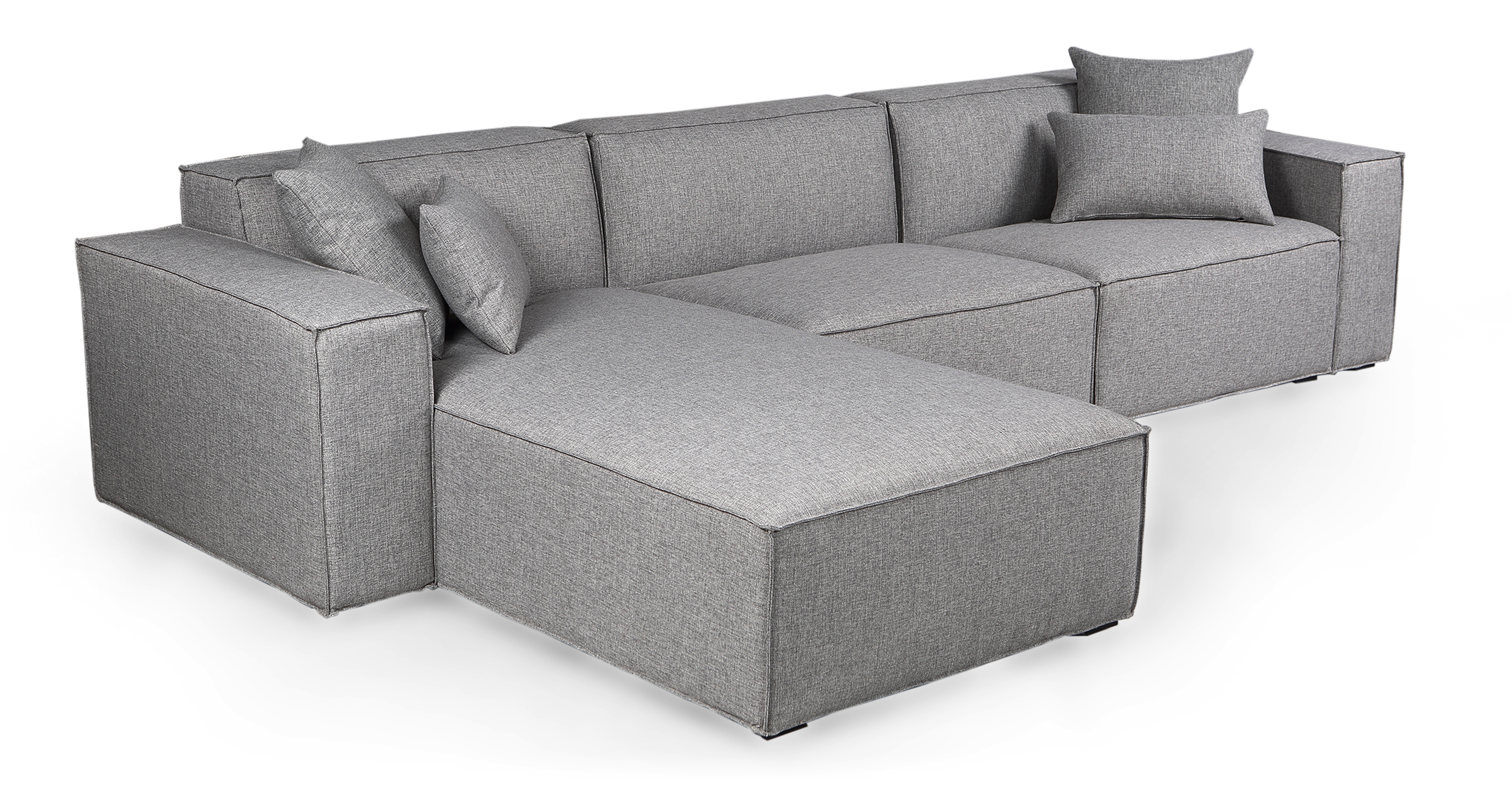 "Modus 118"" Fabric Sofa Sectional Left, Eames Grey"