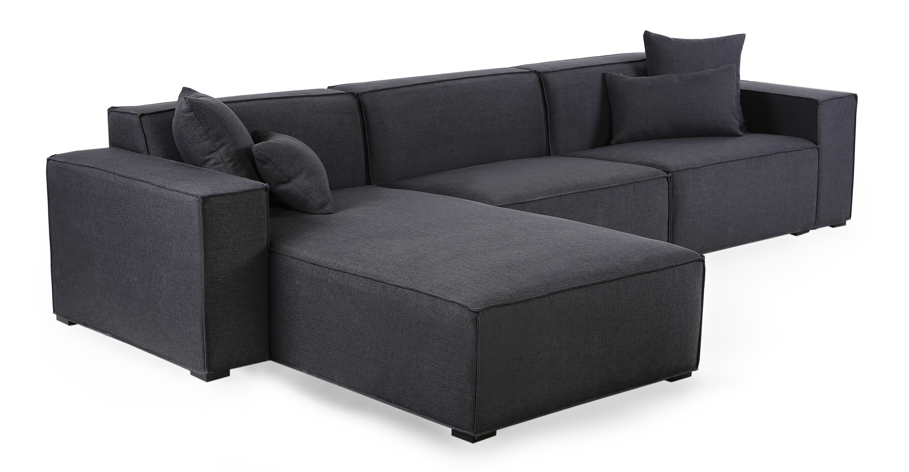 "Modus 118"" Fabric Sofa Sectional Left, Urban Ink"