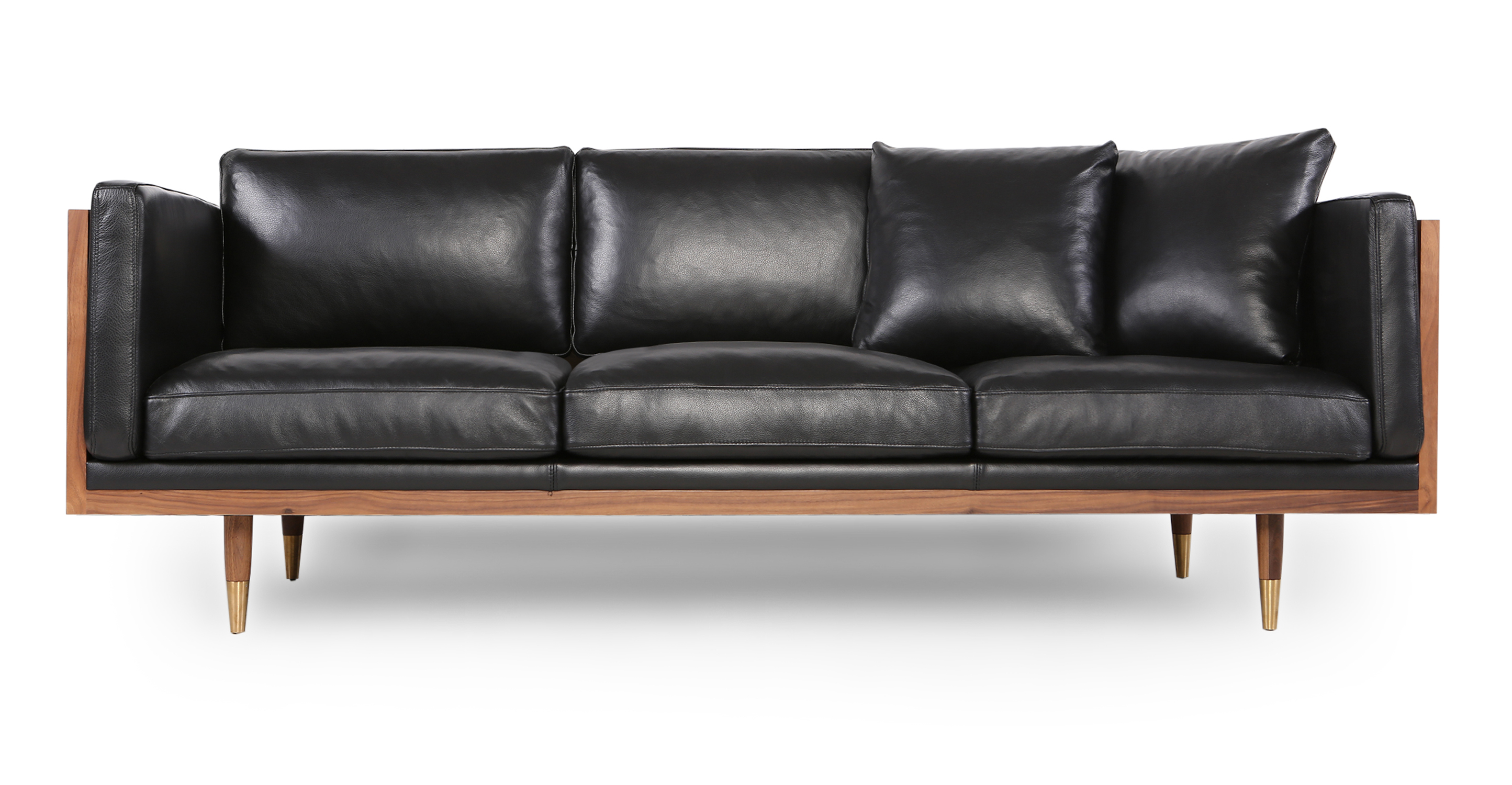 "Woodrow Lush 87"" Leather Sofa, Walnut/Black Aniline"