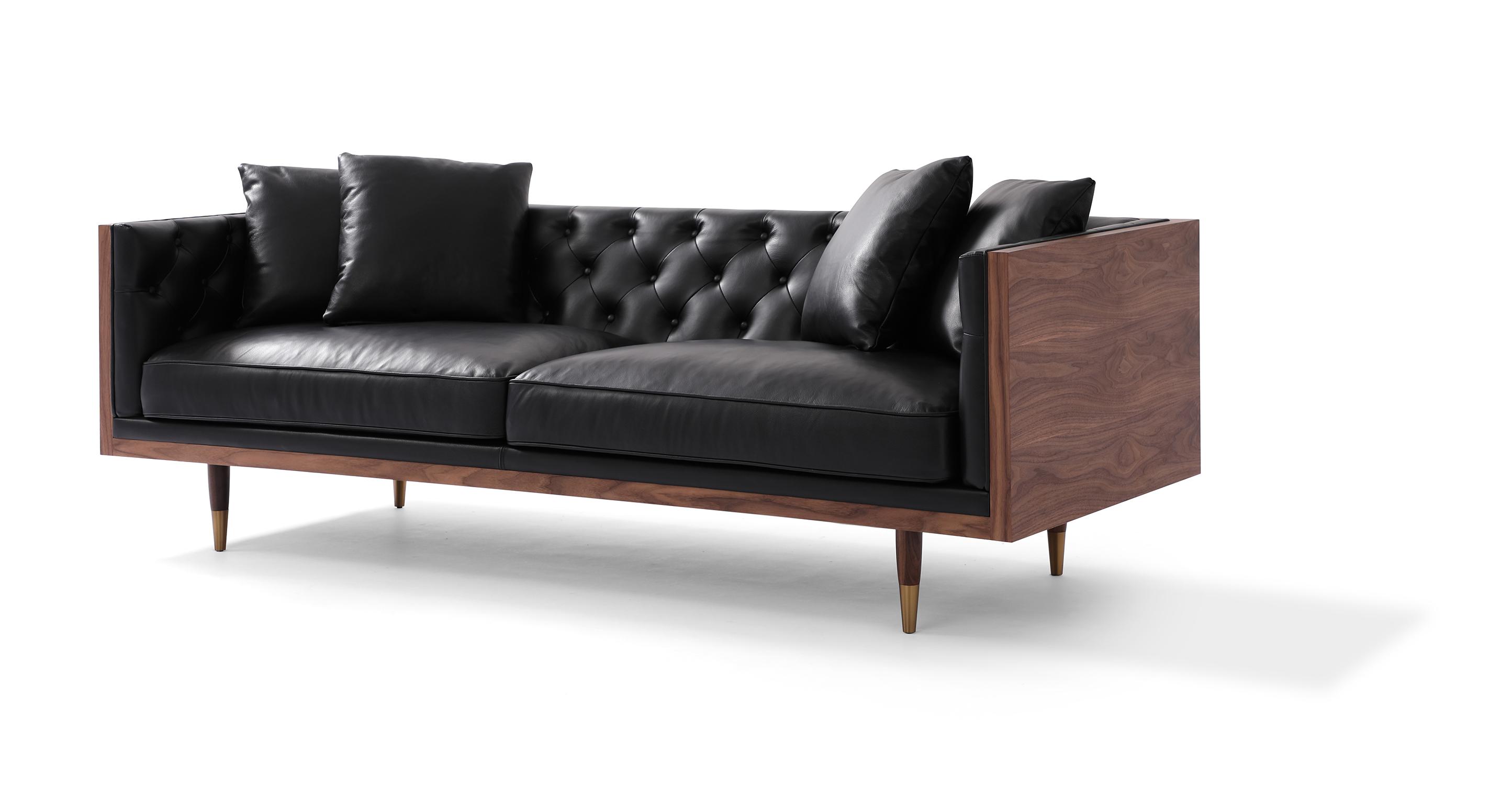 """Woodrow Neo 87"""" Leather Sofa, Walnut/Black Aniline"""