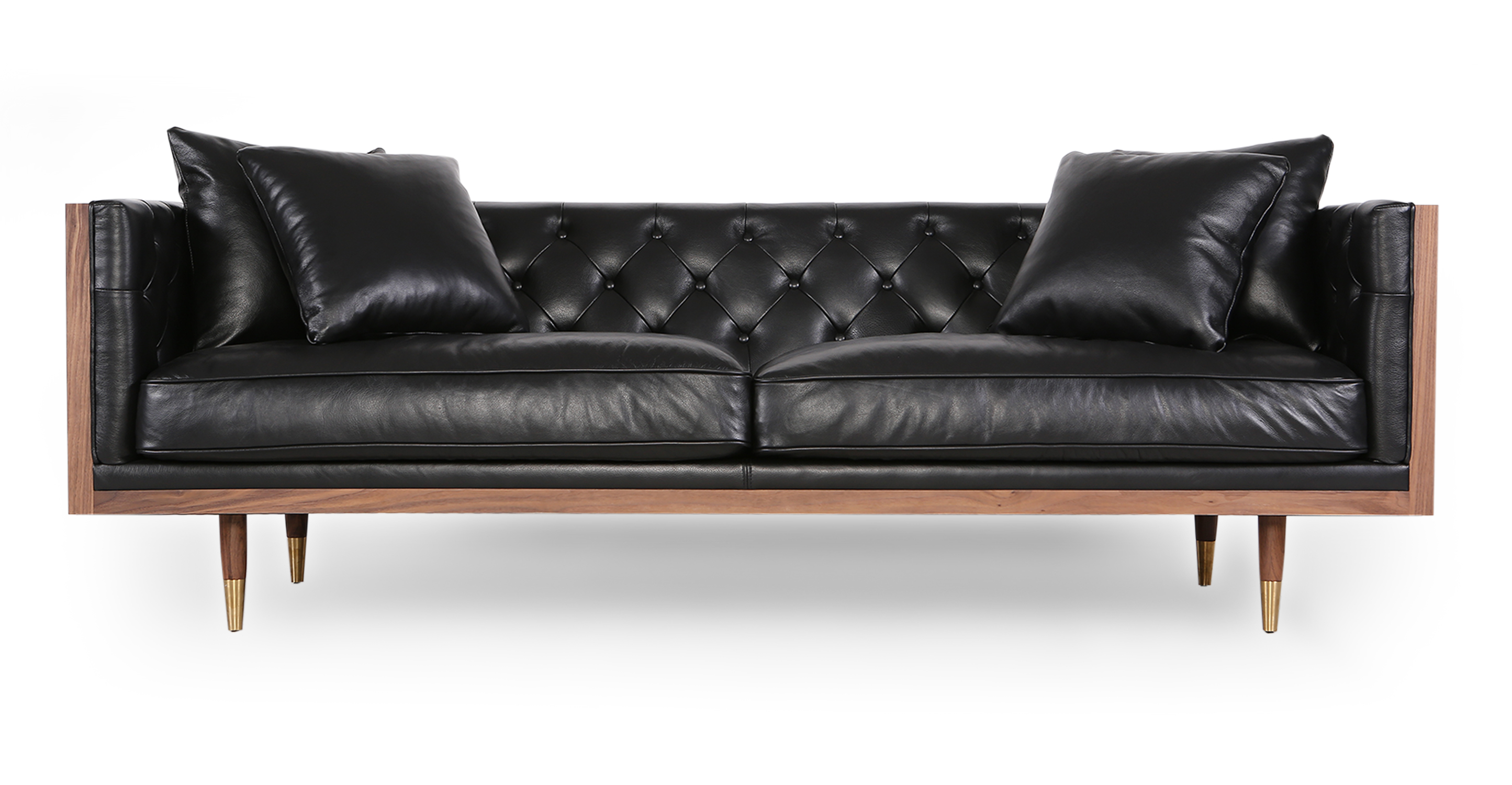"Woodrow Neo 87"" Leather Sofa, Walnut/Black Aniline"