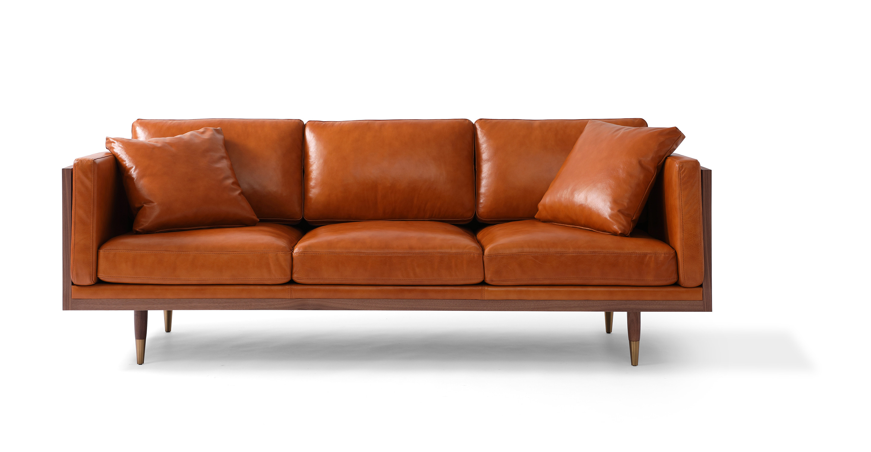 "Woodrow Lush 87"" Leather Sofa, Walnut/Tan Aniline"