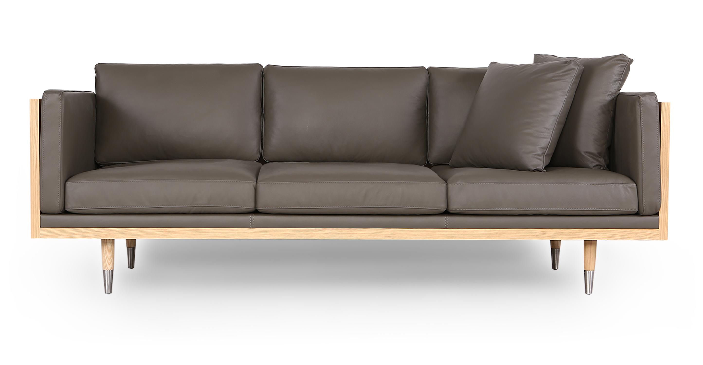 "Woodrow Lush 87"" Leather Sofa, Ash/Grey Aniline"