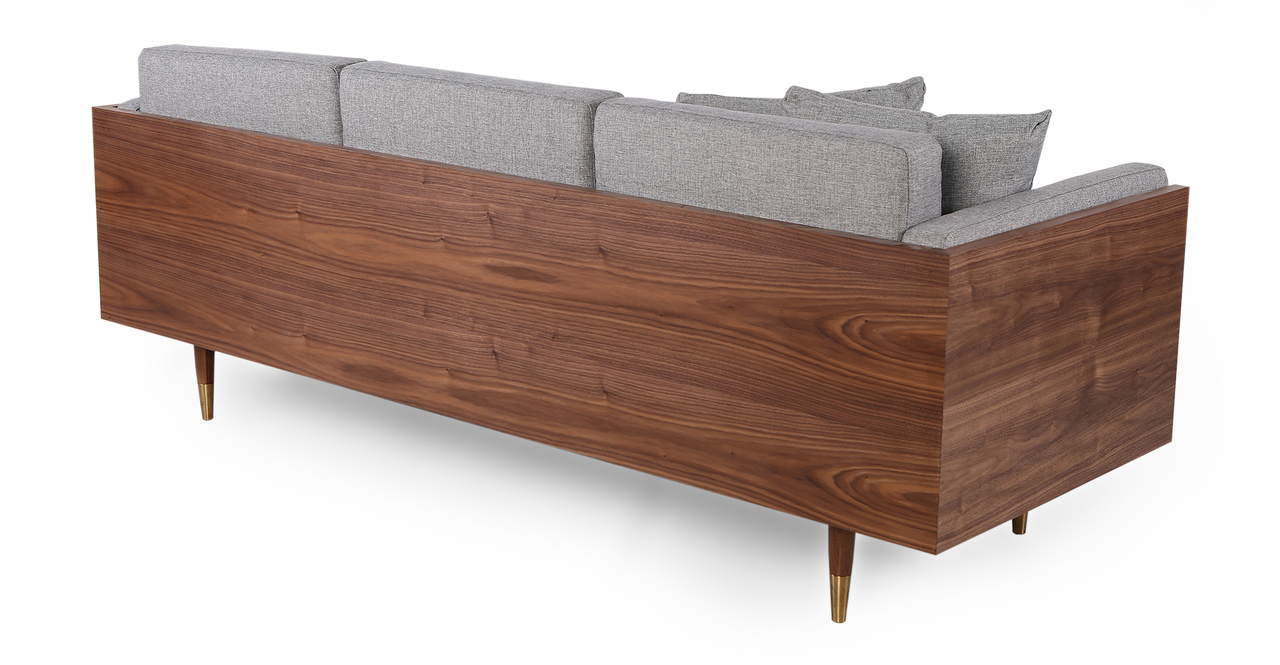 """Woodrow Lush 87"""" Fabric Sofa, Walnut/Eames Grey"""