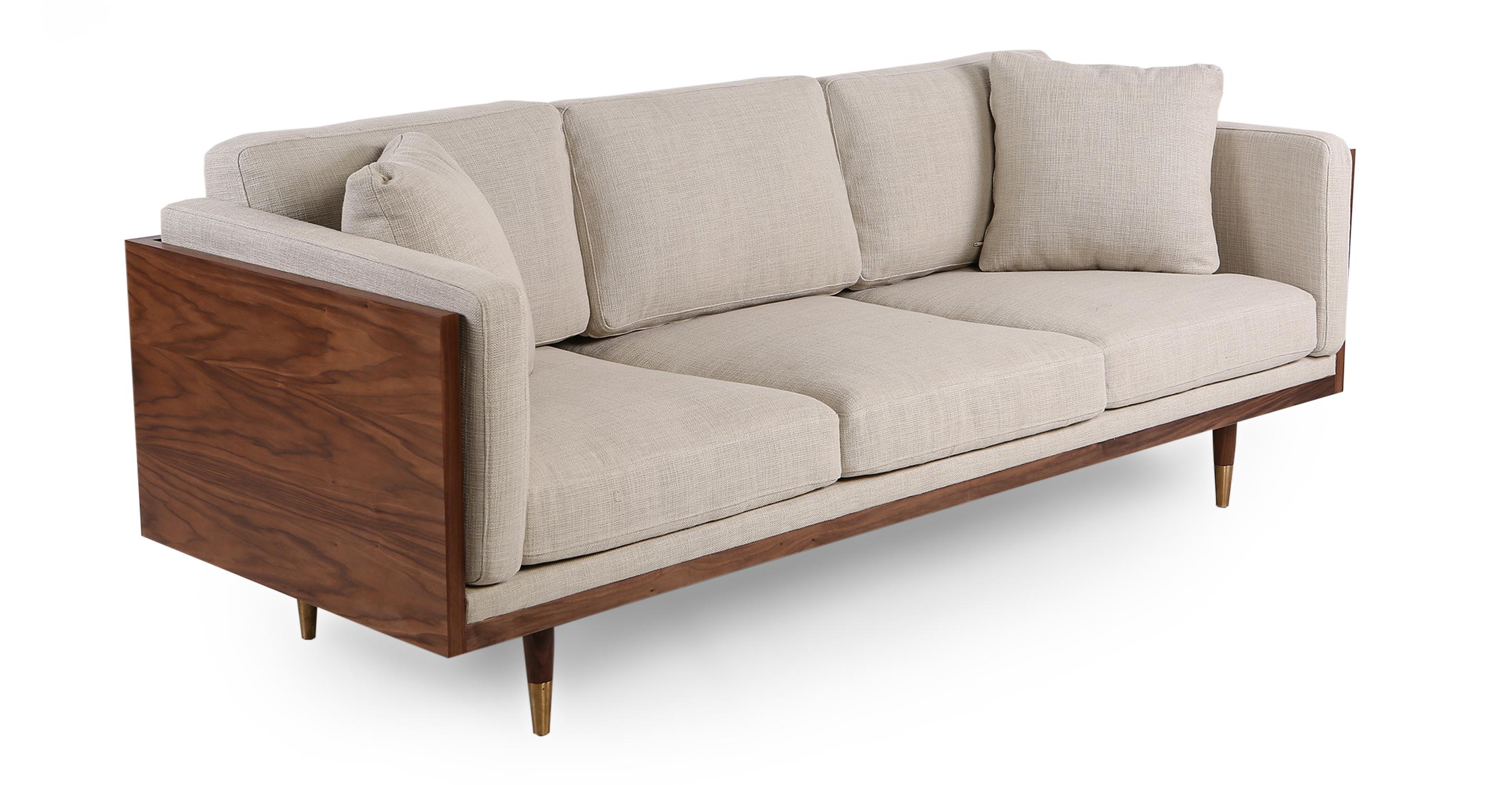 "Woodrow Lush 87"" Fabric Sofa, Walnut/Urban Hemp"