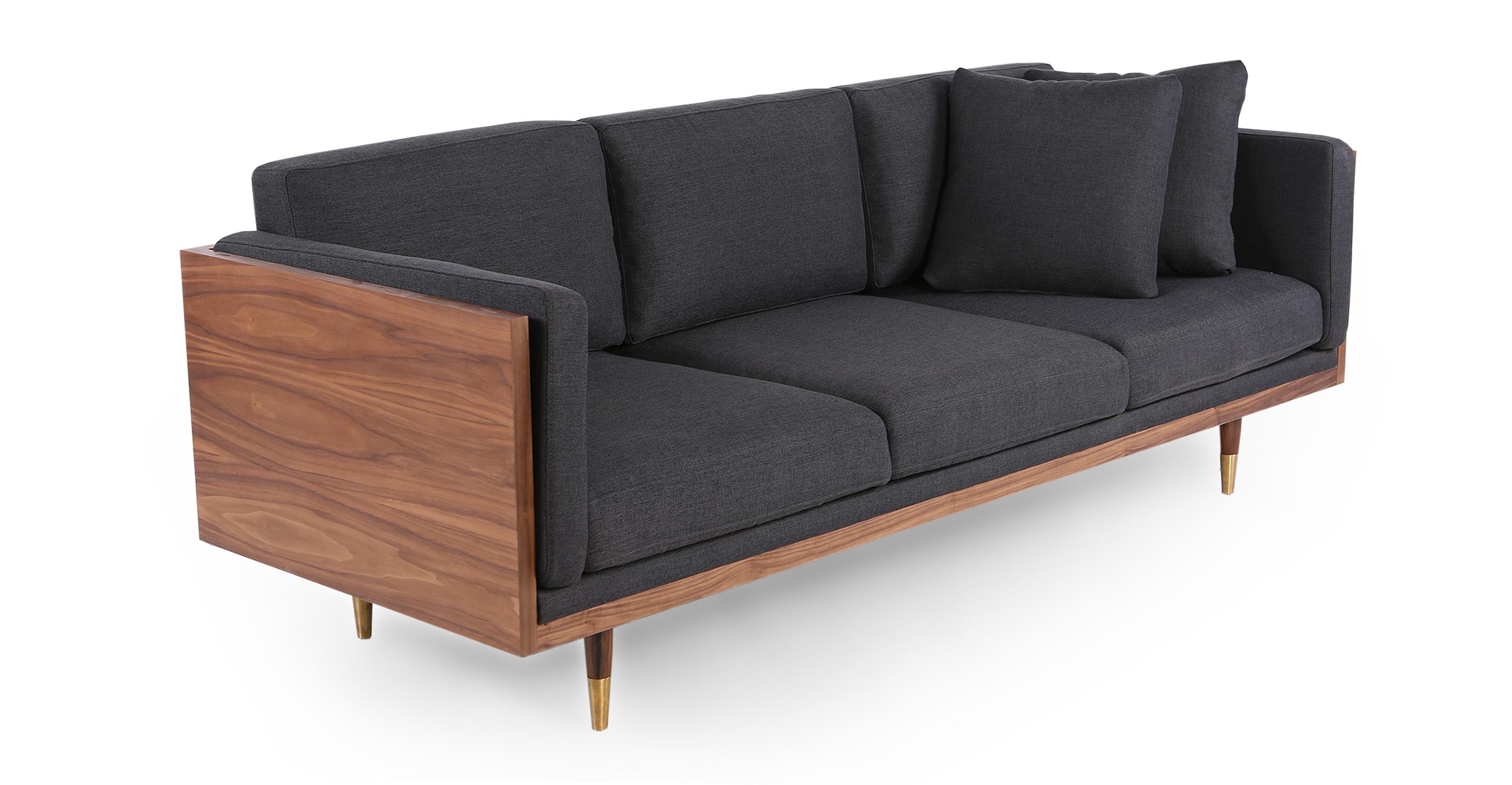 "Woodrow Lush 87"" Fabric Sofa, Walnut/Urban Ink"