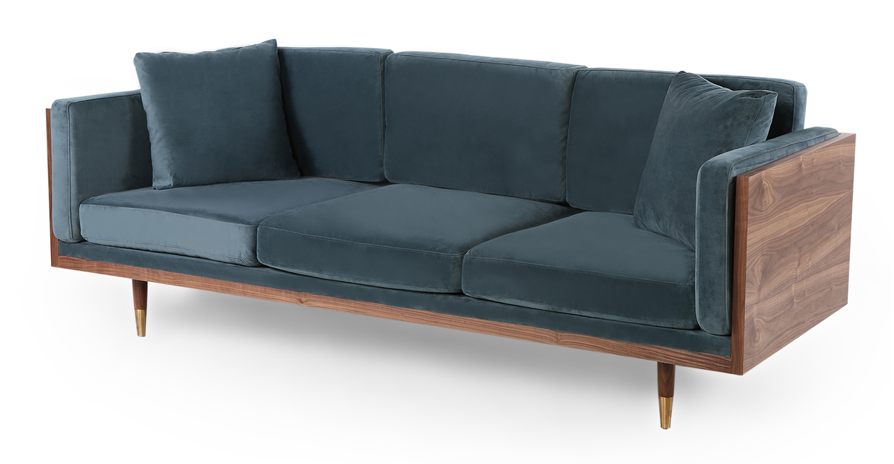 "Woodrow Lush 87"" Fabric Sofa, Walnut/Neptune Velvet"