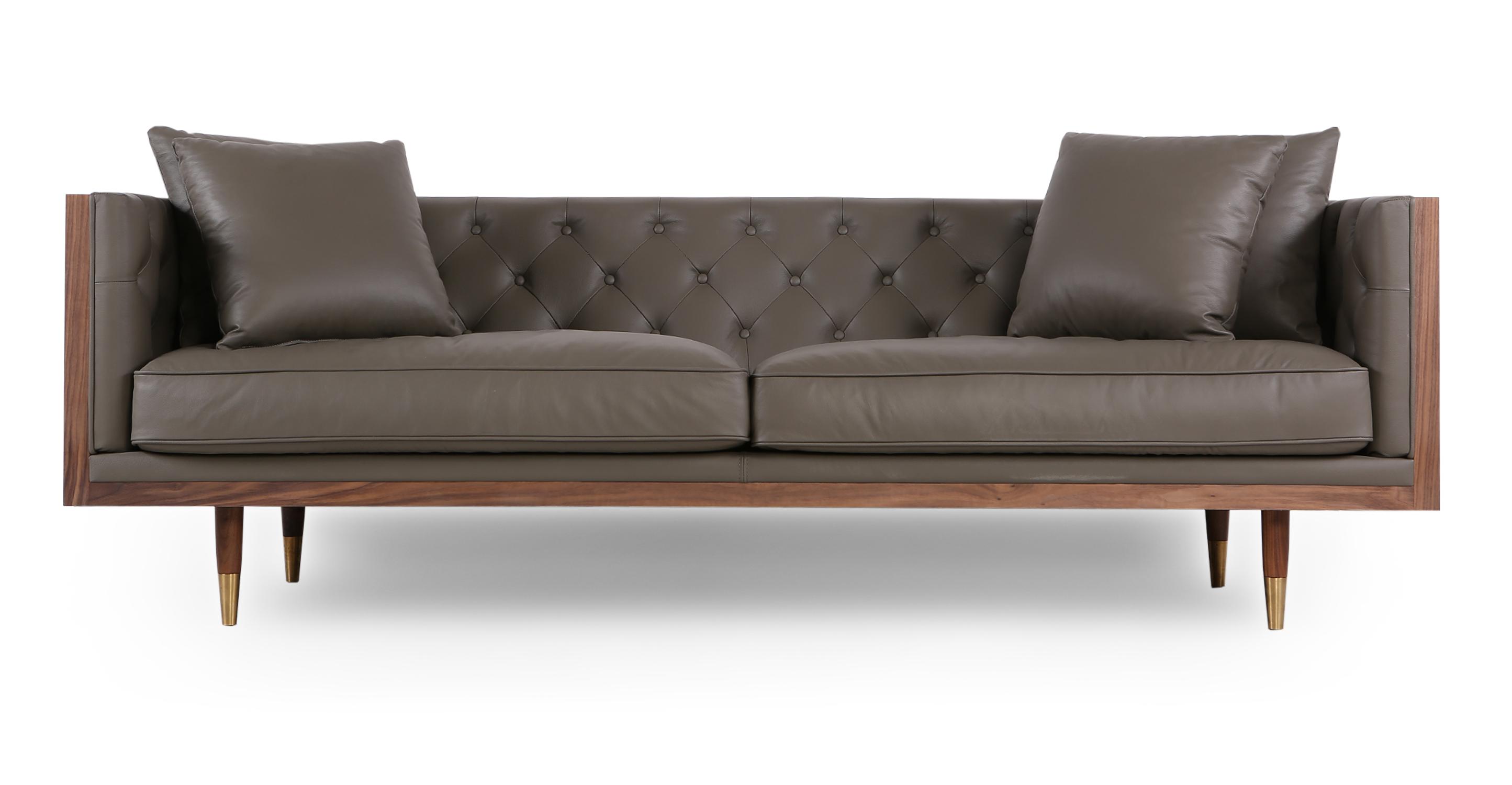 """Woodrow Neo 87"""" Leather Sofa, Walnut/Grey Aniline"""