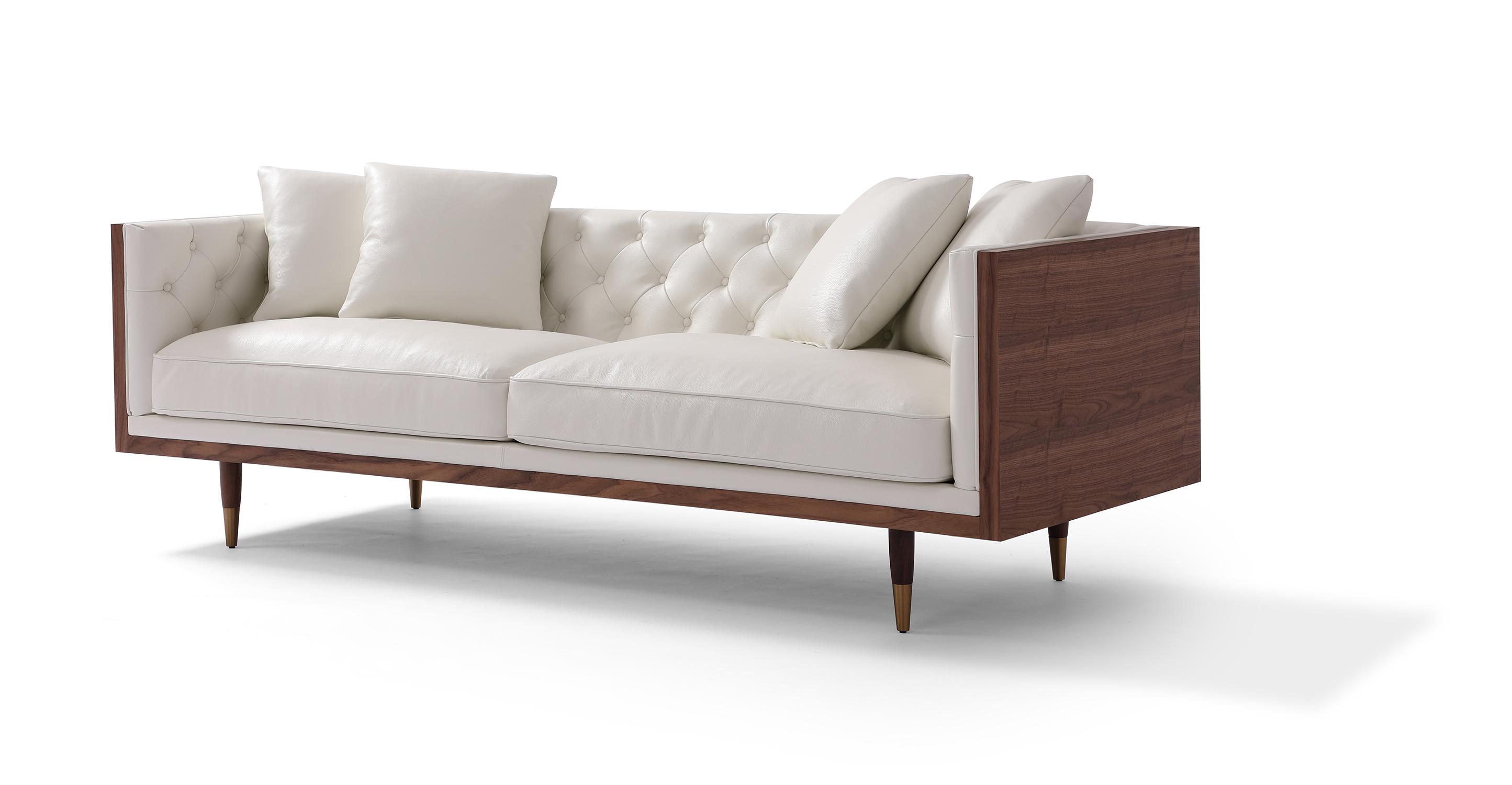 """Woodrow Neo 87"""" Leather Sofa, Walnut/White Aniline"""