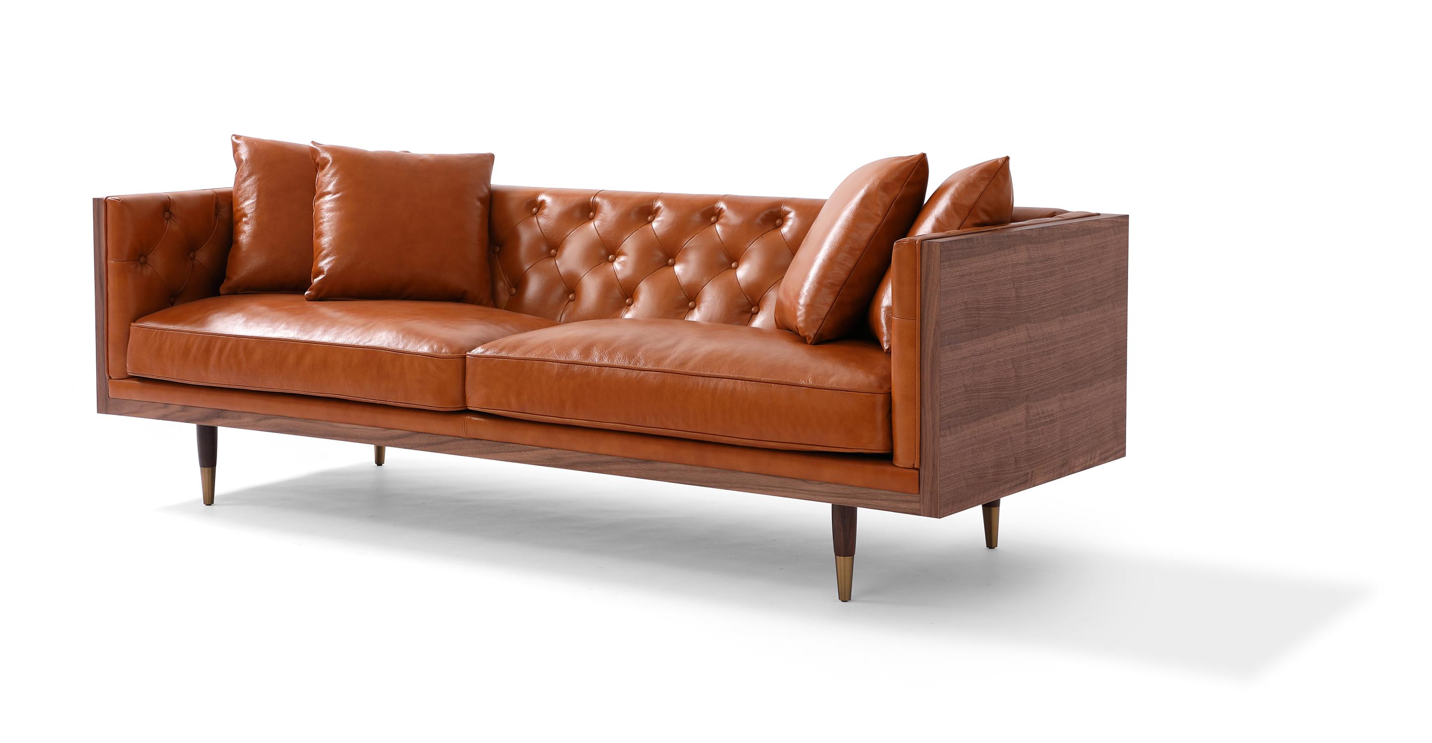 """Woodrow Neo 87"""" Leather Sofa, Walnut/Tan Aniline"""