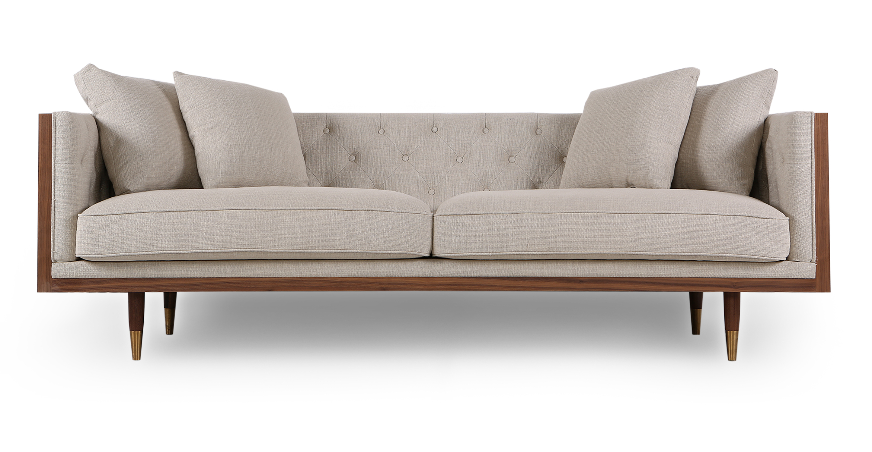 "Woodrow Neo 87"" Fabric Sofa, Walnut/Urban Hemp"