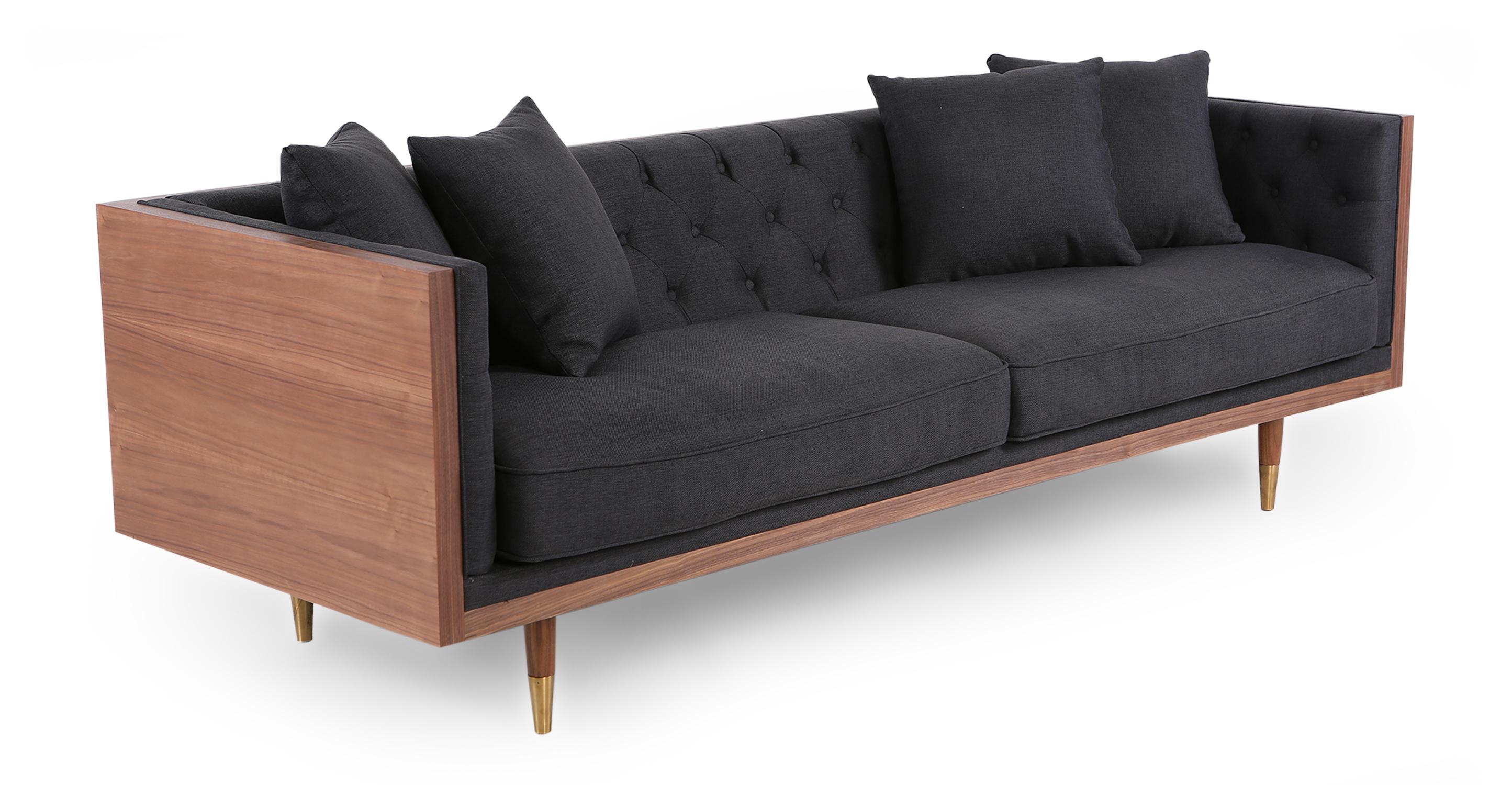 "Woodrow Neo 87"" Fabric Sofa, Walnut/Urban Ink"