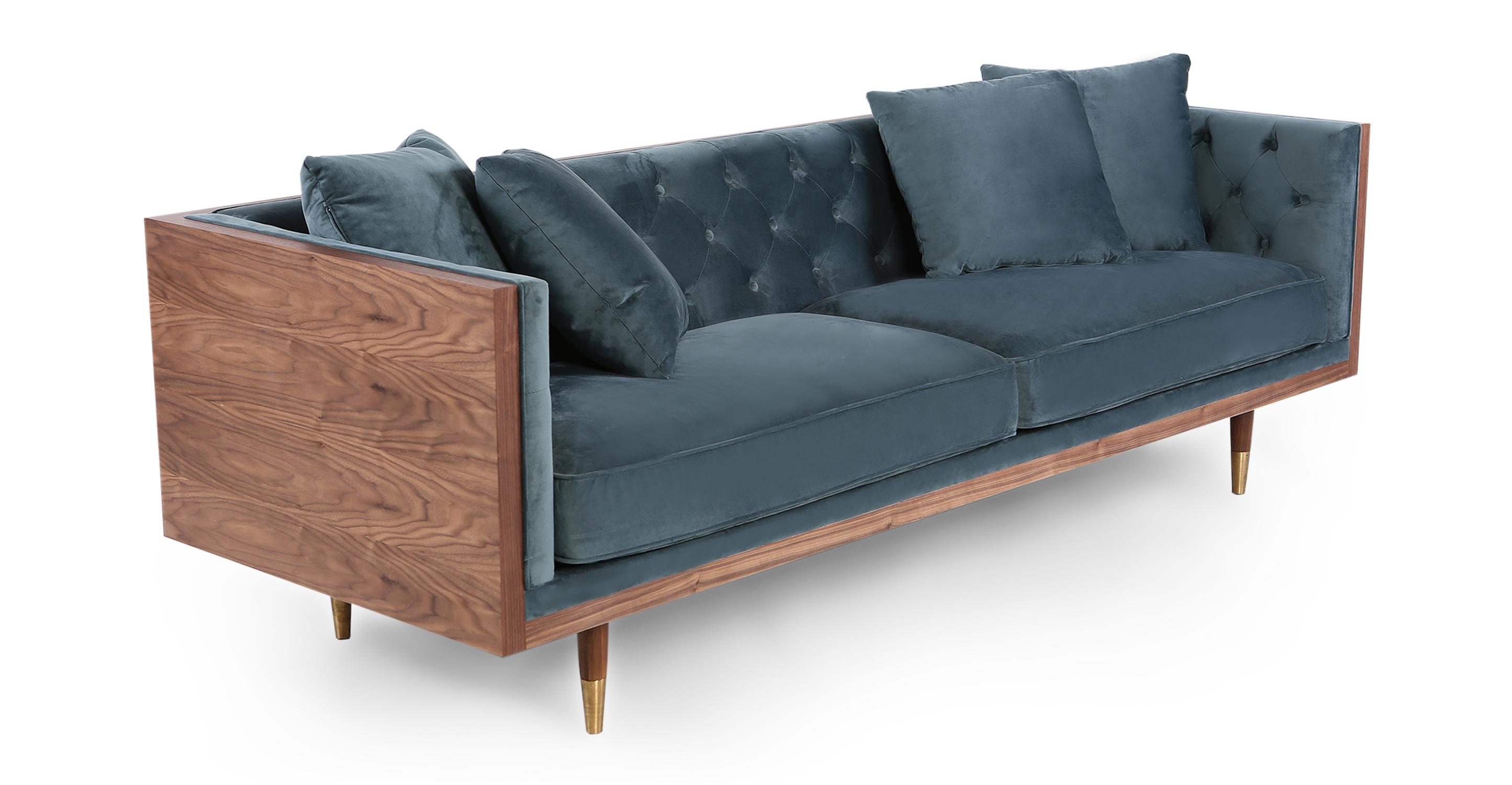 "Woodrow Neo 87"" Fabric Sofa, Walnut/Neptune Velvet"