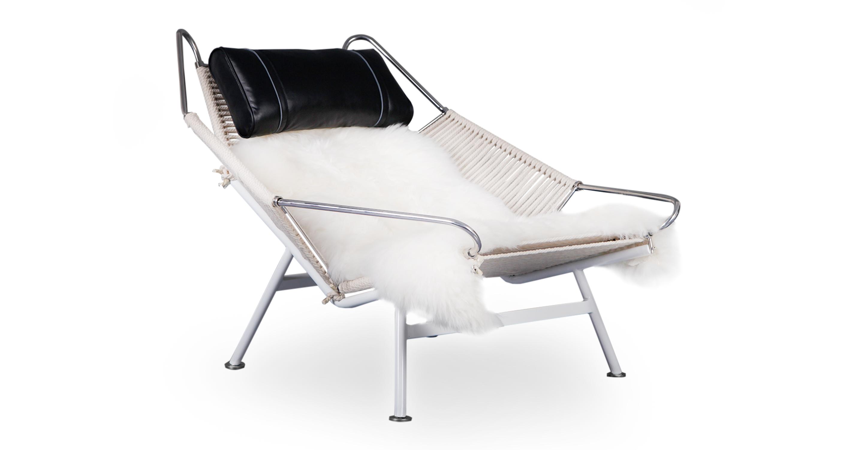 Flag Halyard Leather Chair, Beige Rope/Black