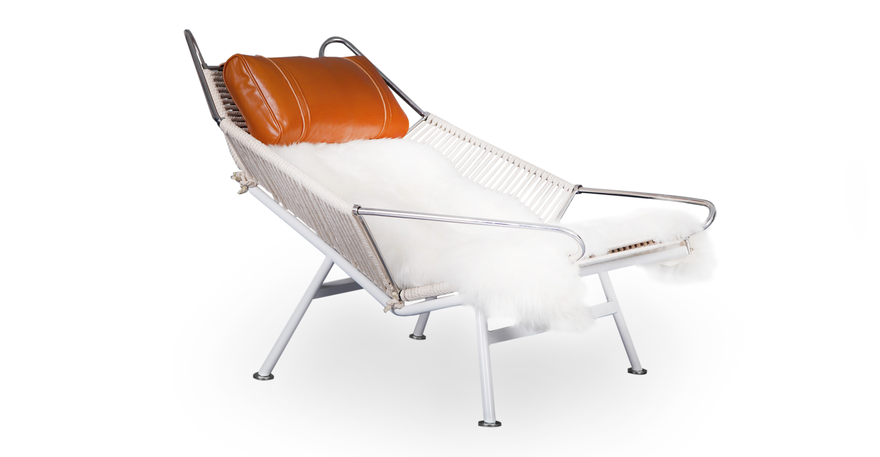 Flag Halyard Leather Chair, Beige Rope/Caramel
