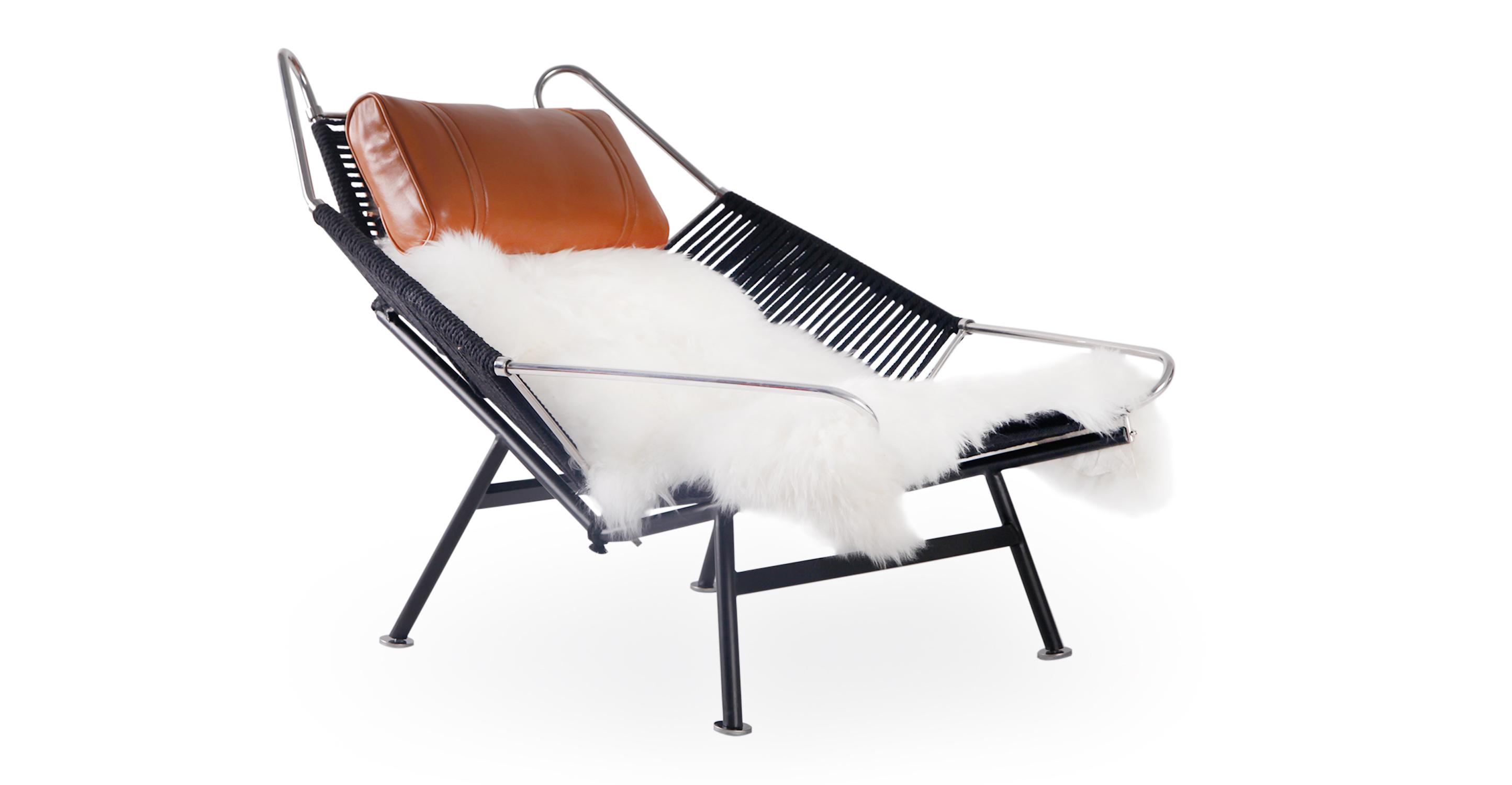 Flag Halyard Leather Chair, Black Rope/Caramel