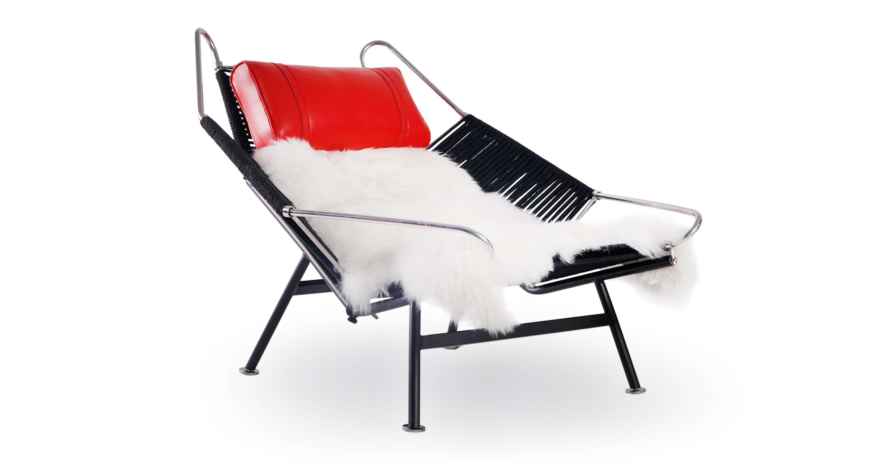 Flag Halyard Leather Chair, Black Rope/Red