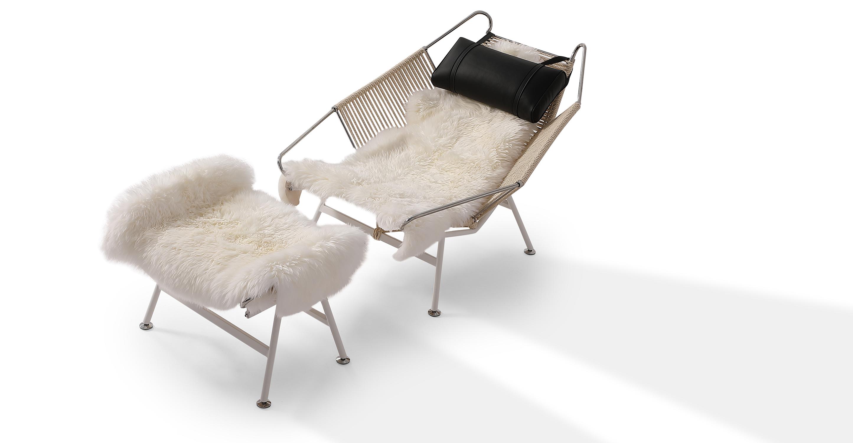 Flag Halyard Leather Chair & Ottoman, Beige Rope/Black