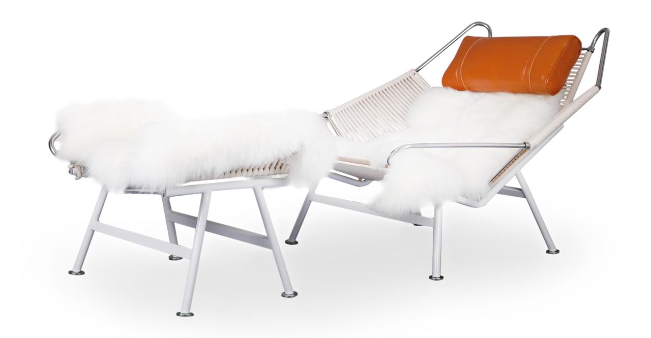 Flag Halyard Chair & Ottoman, Beige Rope / Caramel Leather