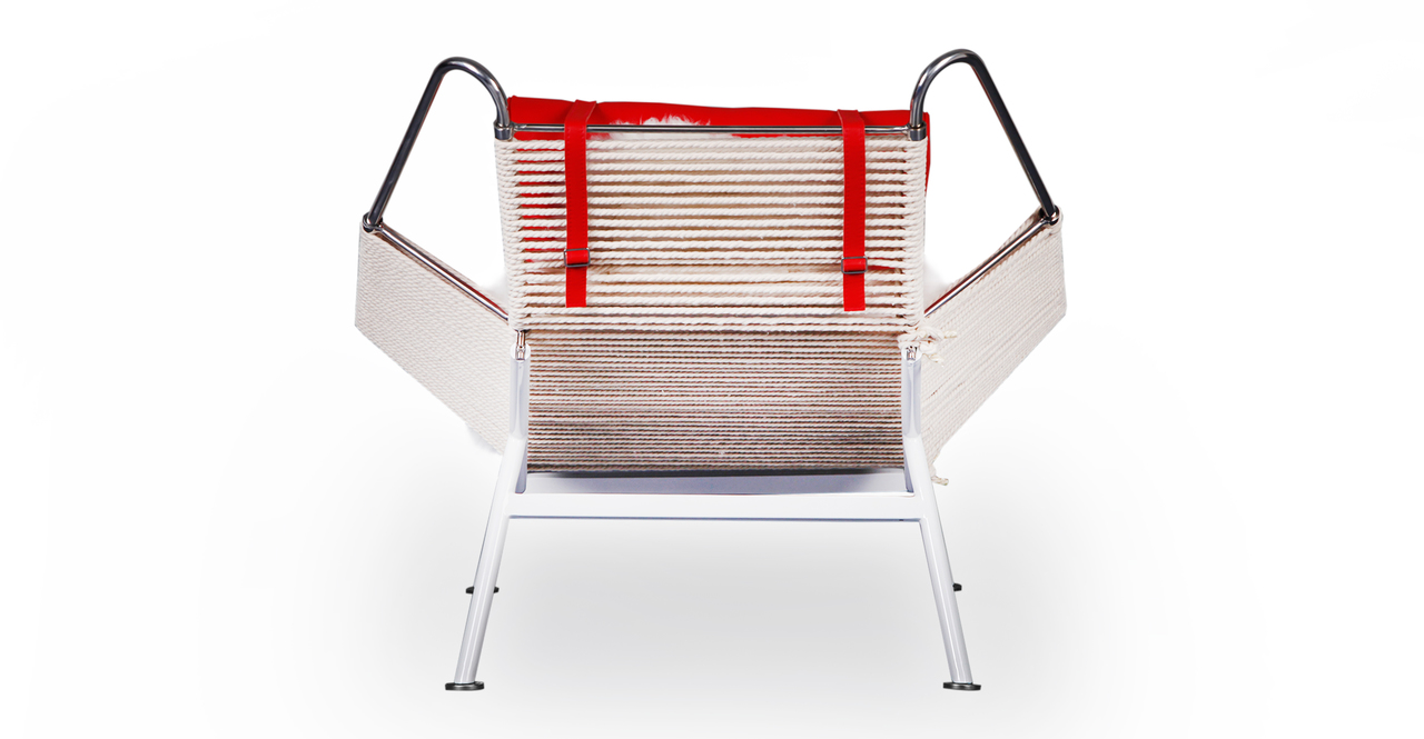 Flag Halyard Chair & Ottoman, Beige Rope / Red Leather