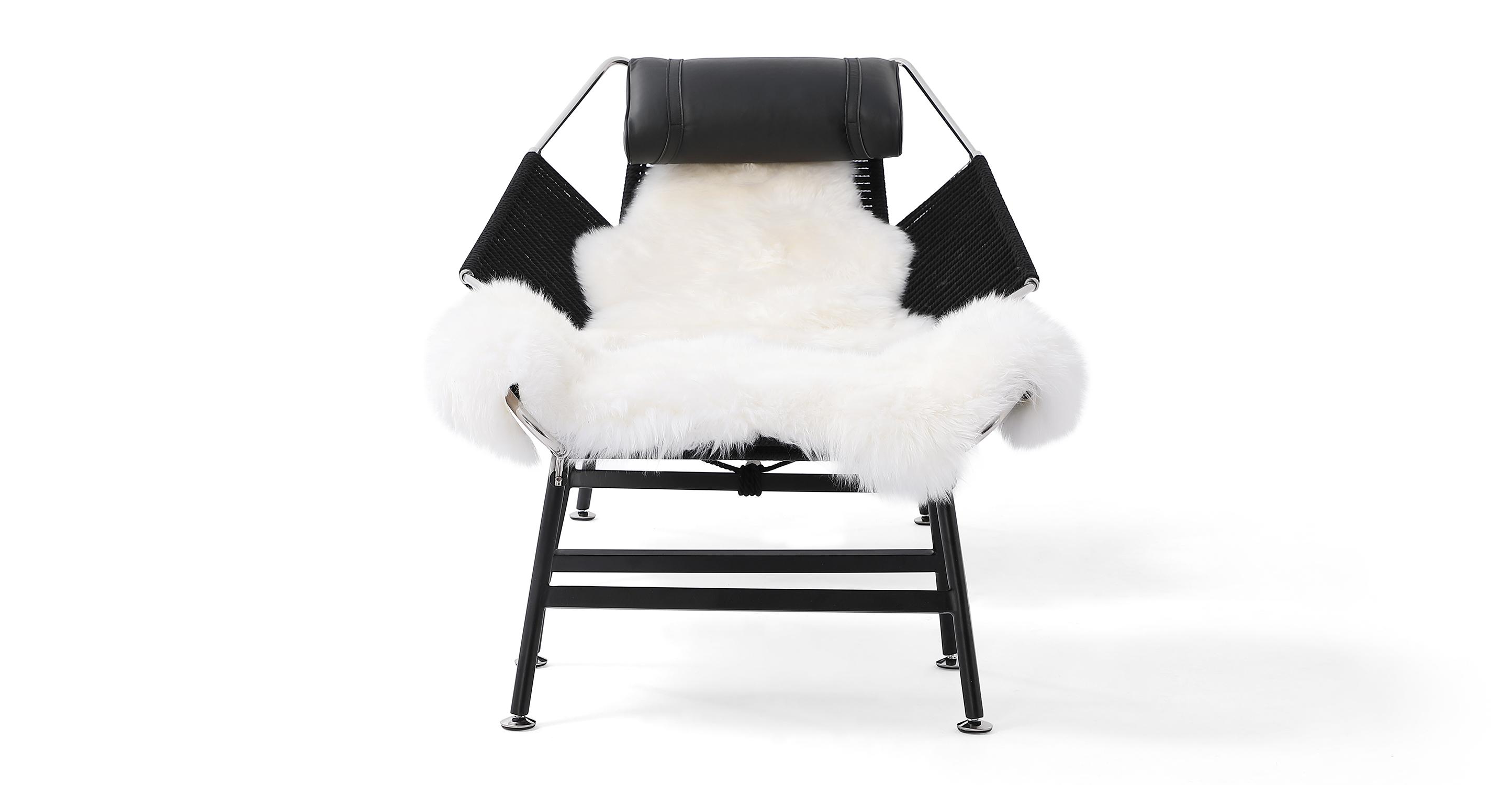 Flag Halyard Leather Chair & Ottoman, Black Rope/Black