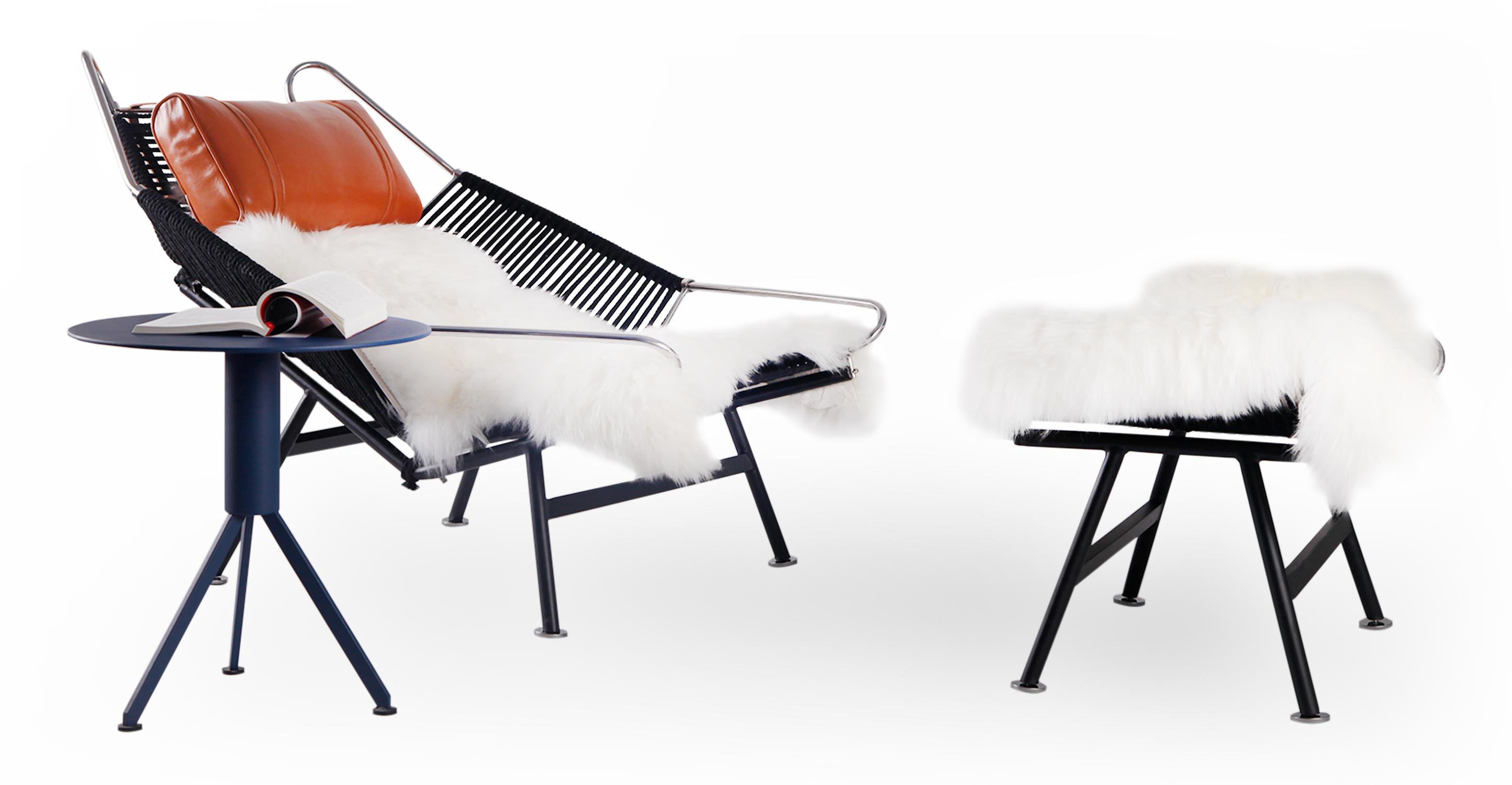 Flag Halyard Leather Chair & Ottoman, Black Rope/Caramel