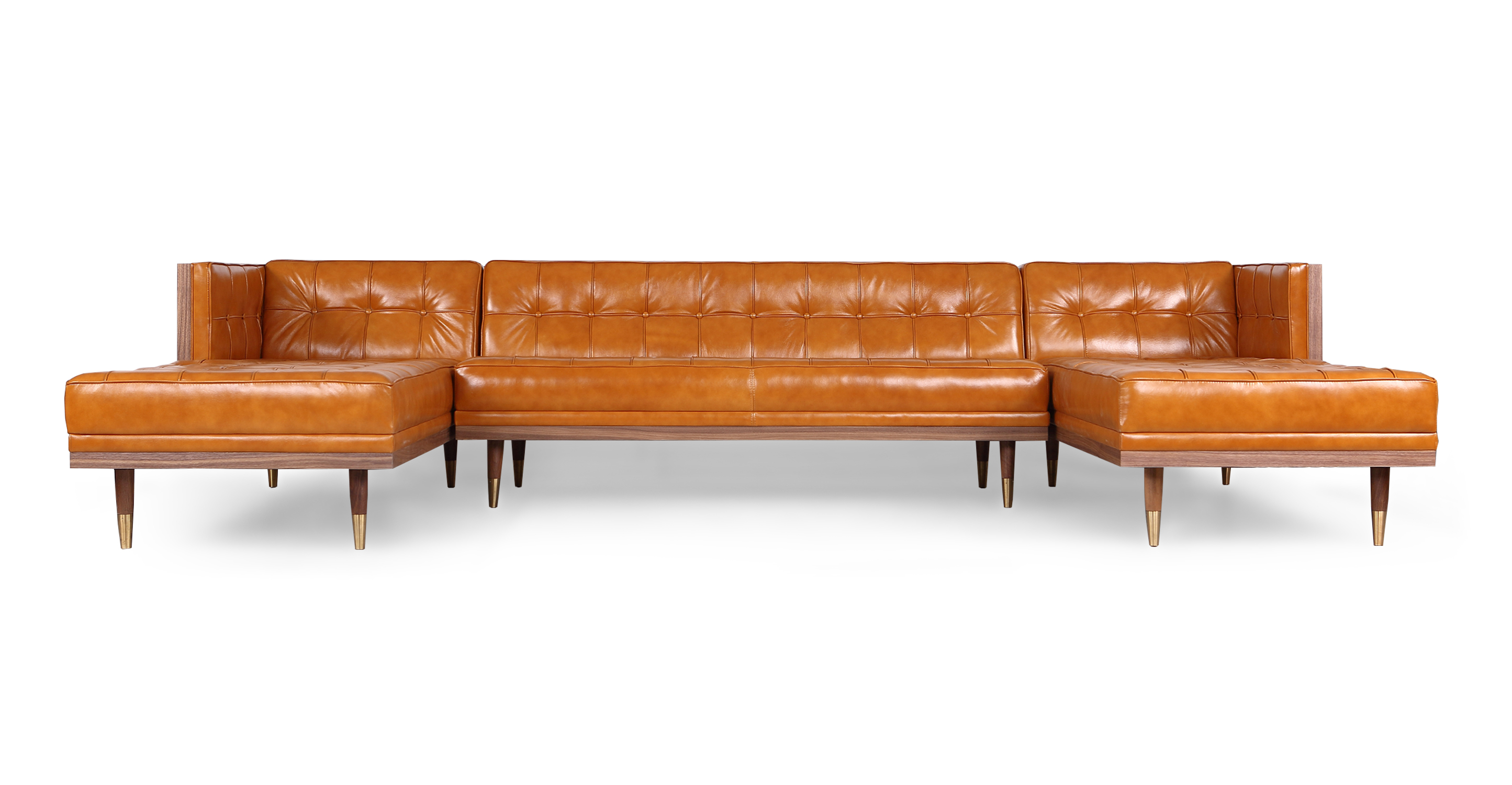 """Woodrow Box 126"""" Sofa U-Sectional, Walnut/Tan Aniline"""
